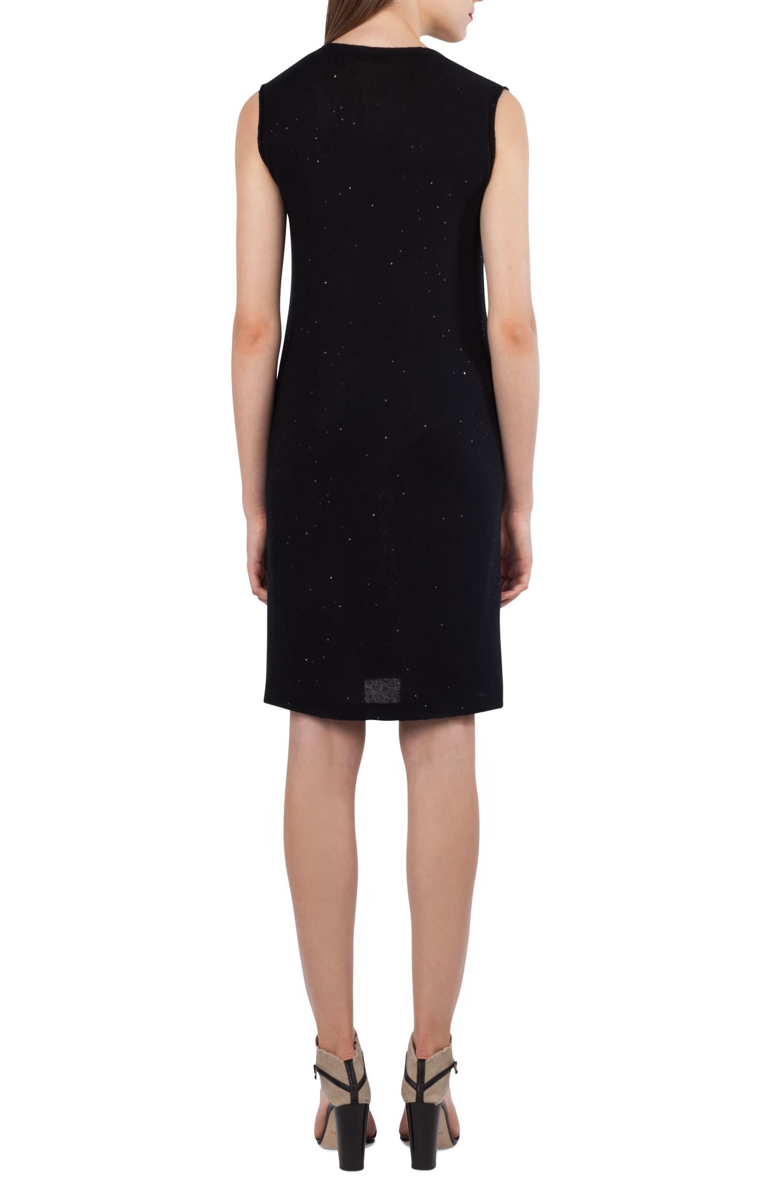 Sequin Knit Silk & Cotton Dress,                             Alternate thumbnail 2, color,                             Black