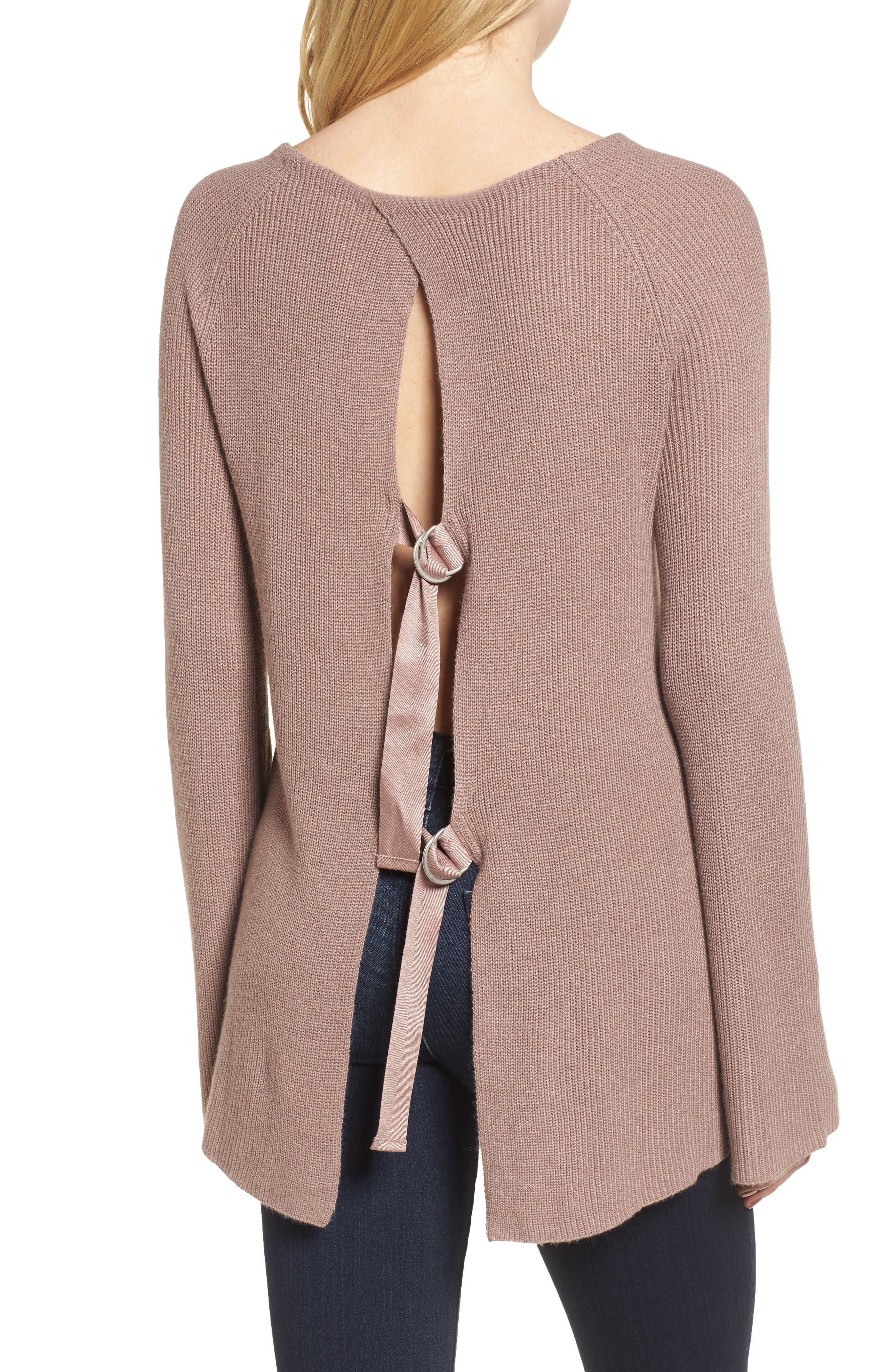 Flare Sleeve Open Back Sweater,                             Alternate thumbnail 2, color,                             Pink Fawn Heather