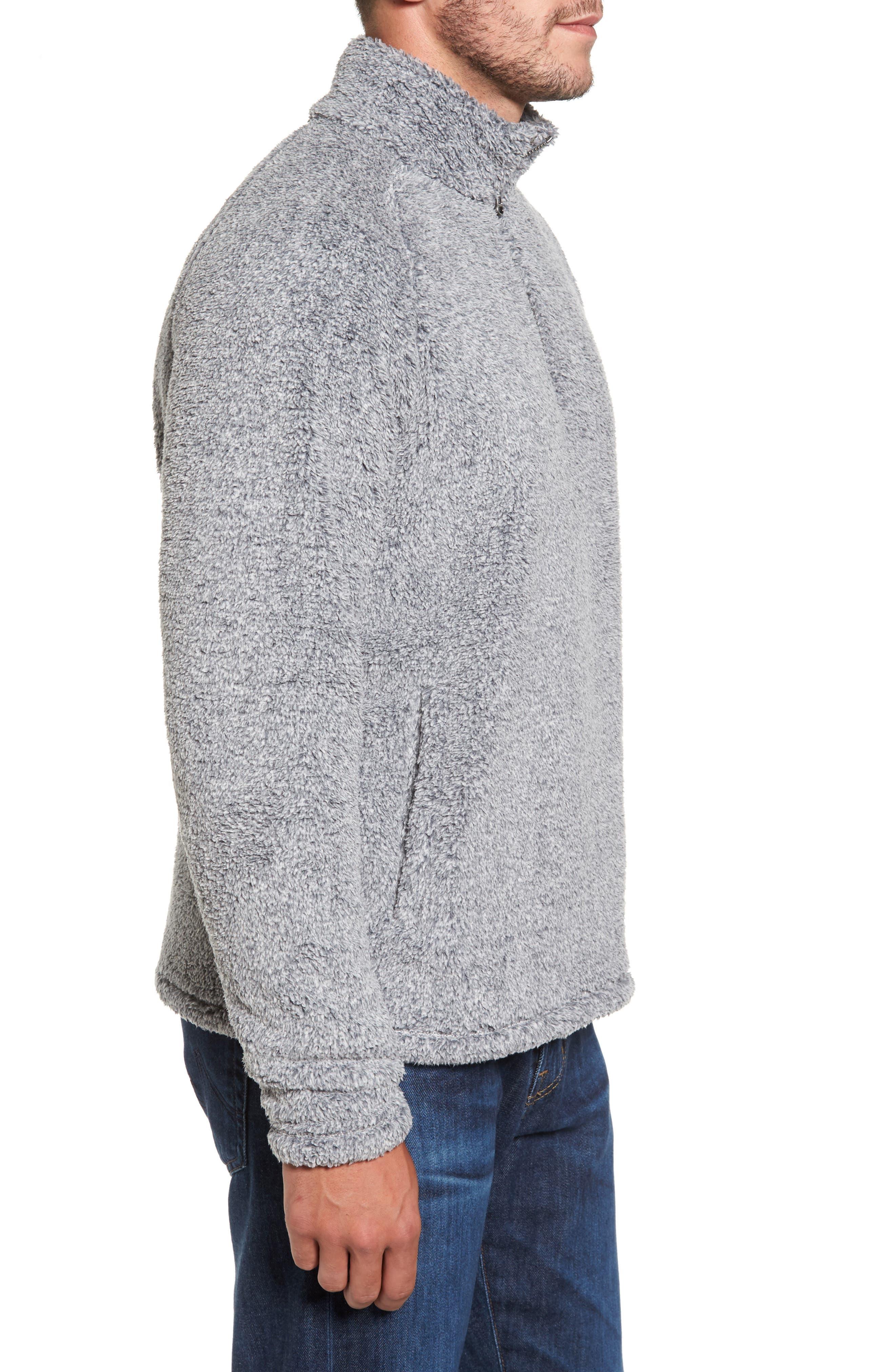 Polar Fleece Quarter Zip Pullover,                             Alternate thumbnail 3, color,                             Black Caviar Heather