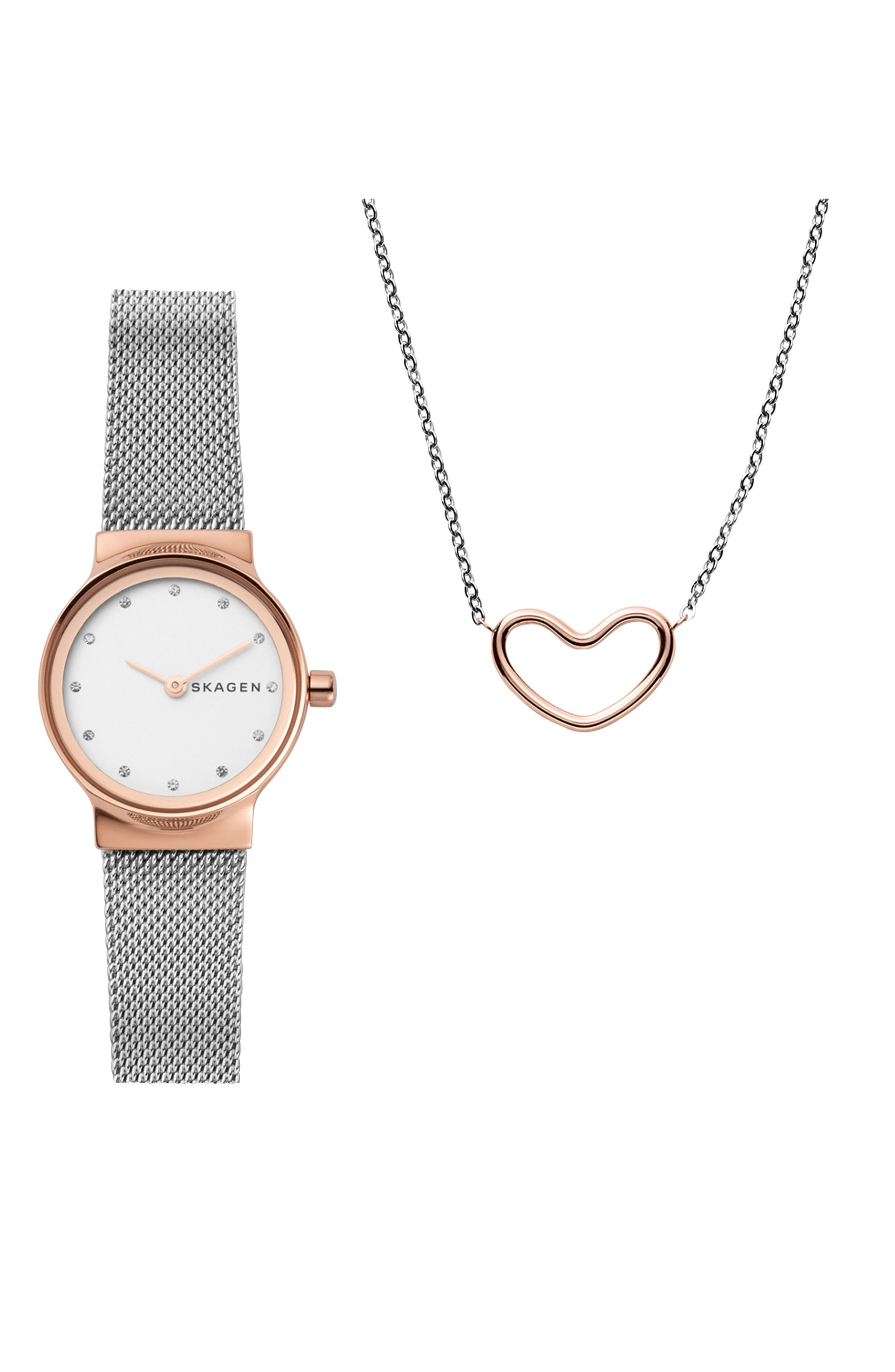 Freja Crystal Mesh Strap Watch & Necklace Set, 26mm,                         Main,                         color, Silver/ White/ Rose Gold