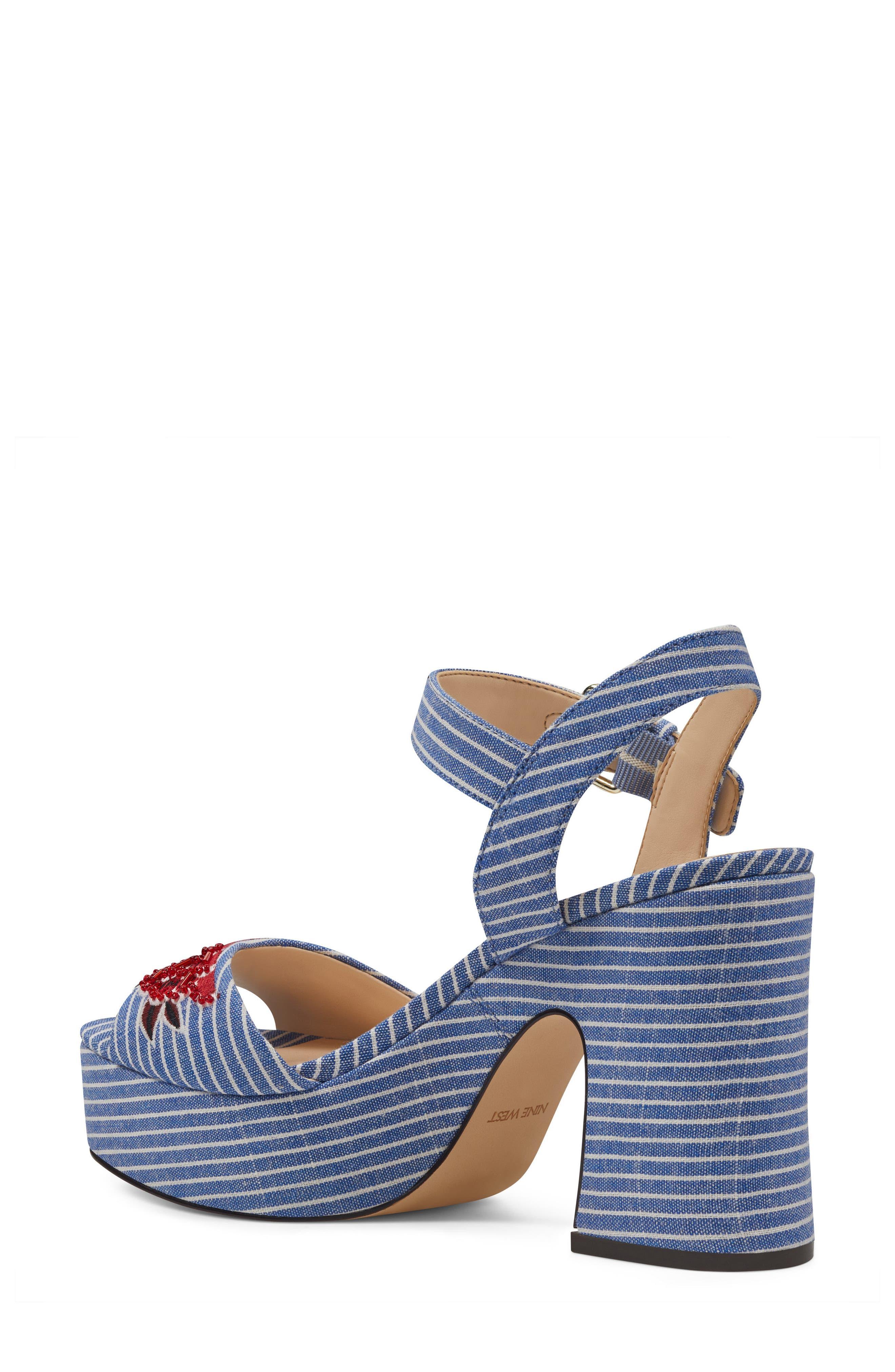 Fontayah Platform Sandal,                             Alternate thumbnail 2, color,                             Blue/ White Fabric