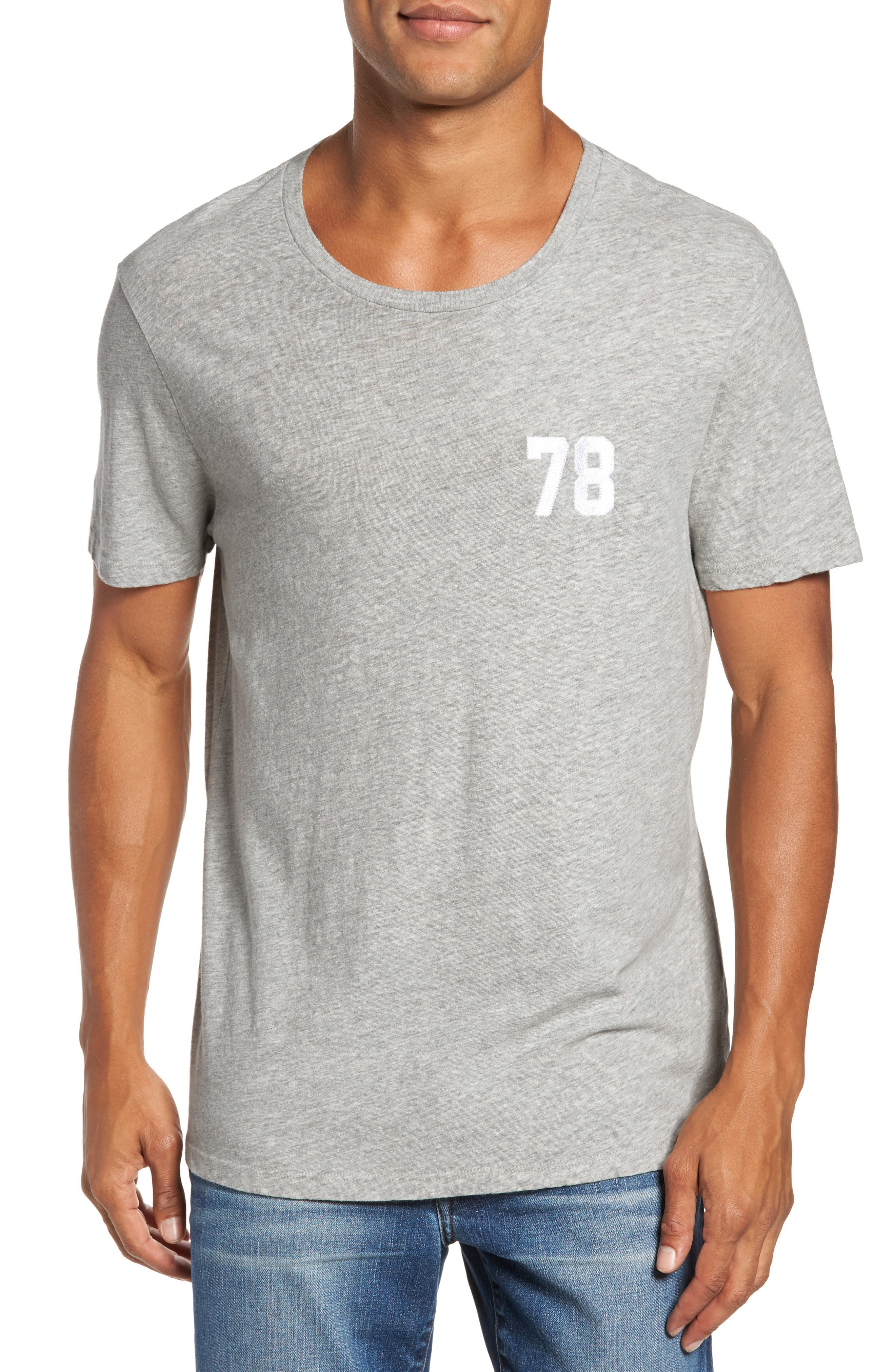 FRAME Collegiate Wide Neck Appliqué T-Shirt