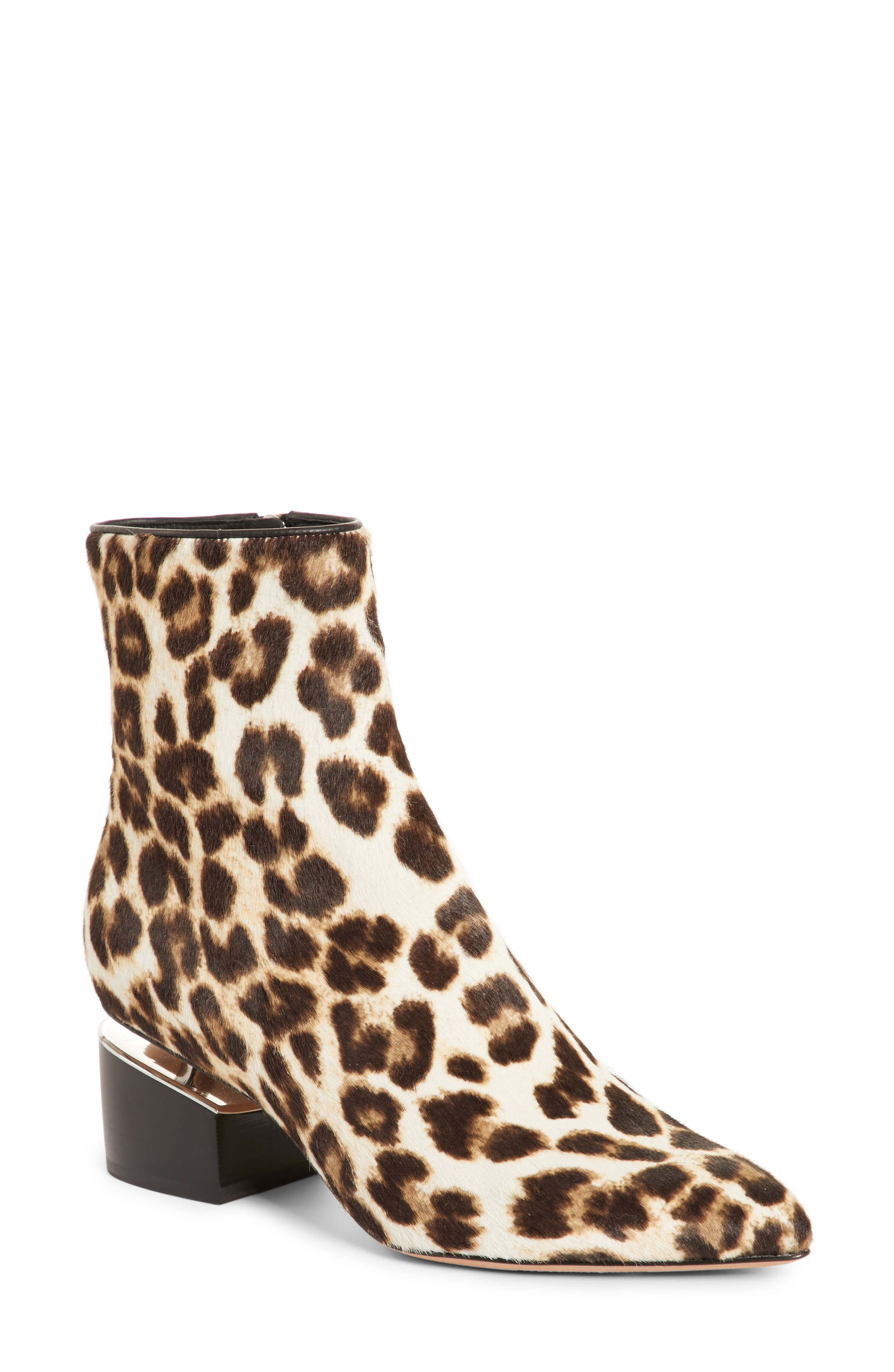 Jude Genuine Calf Hair Bootie,                         Main,                         color, Leopard Print
