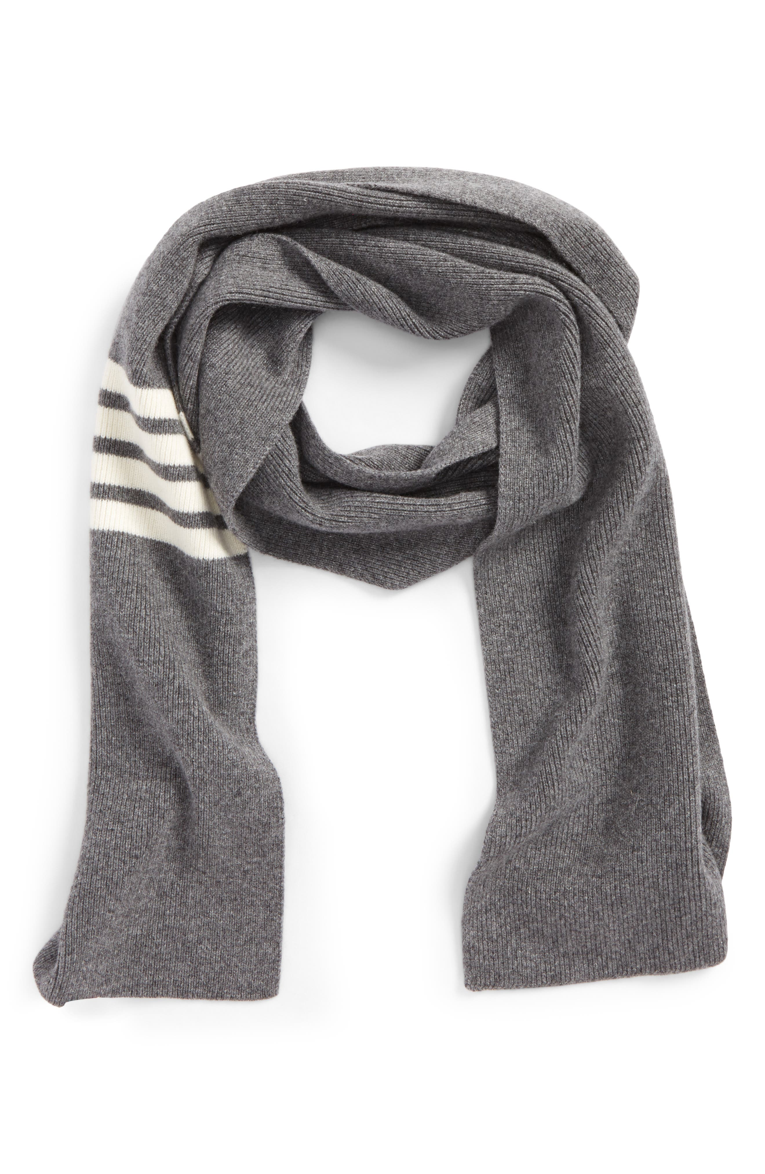 Rib Cashmere Scarf,                         Main,                         color, Med Grey