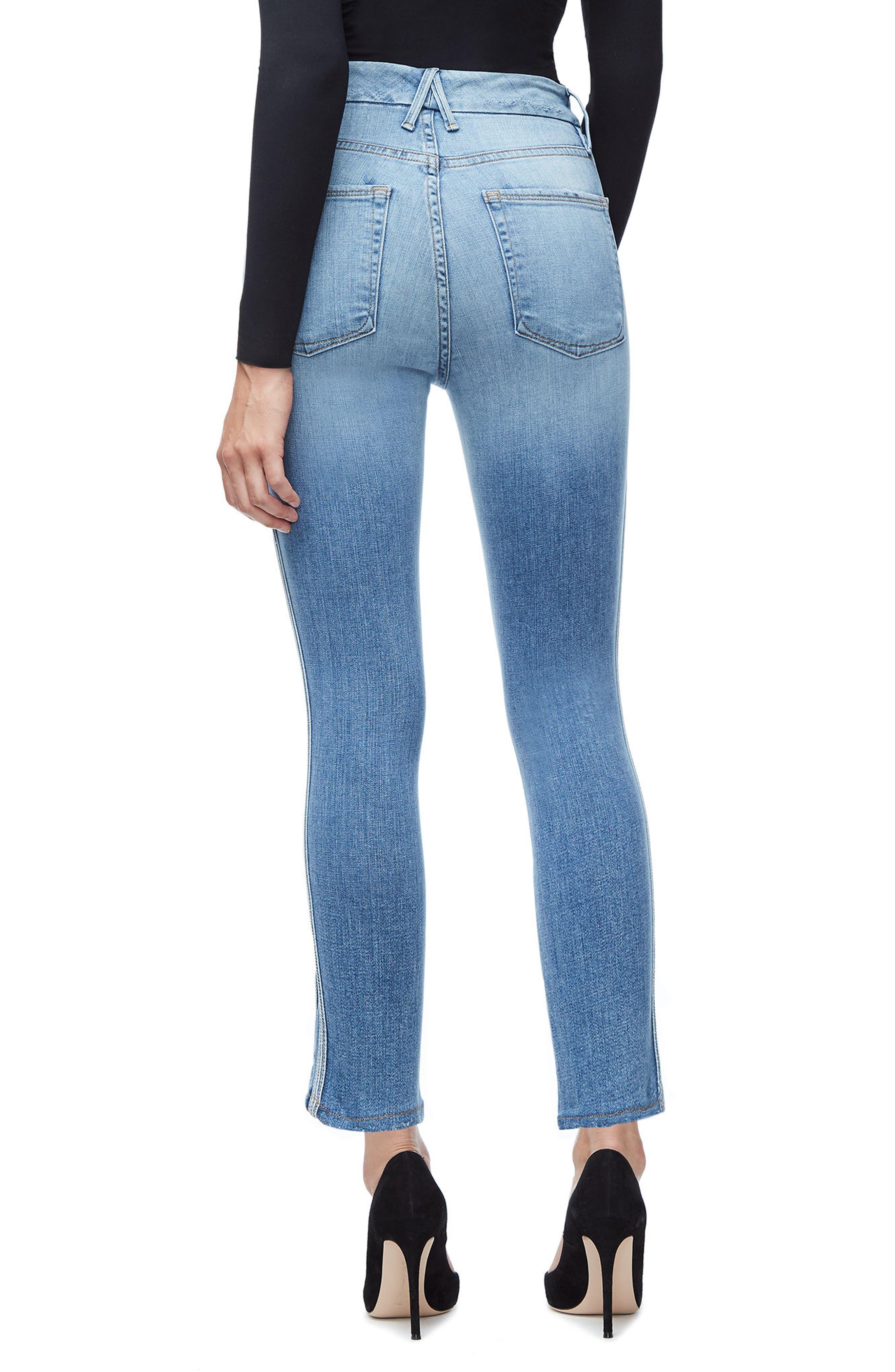 Good Waist Athletic Stripe High Waist Ankle Straight Leg Jeans,                             Alternate thumbnail 2, color,                             Blue121
