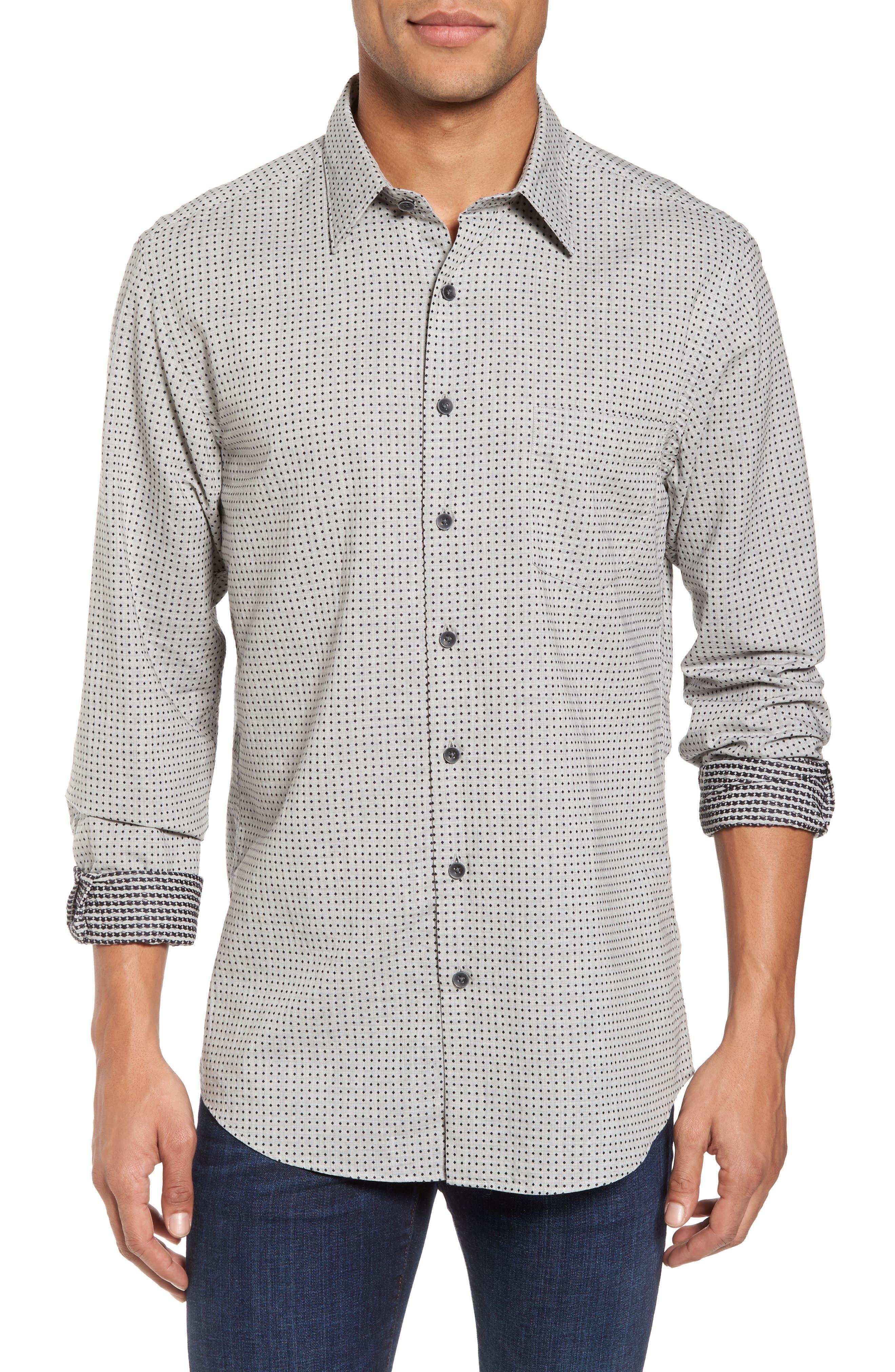 Judgeford Slim Fit Jacquard Sport Shirt,                         Main,                         color, Stone