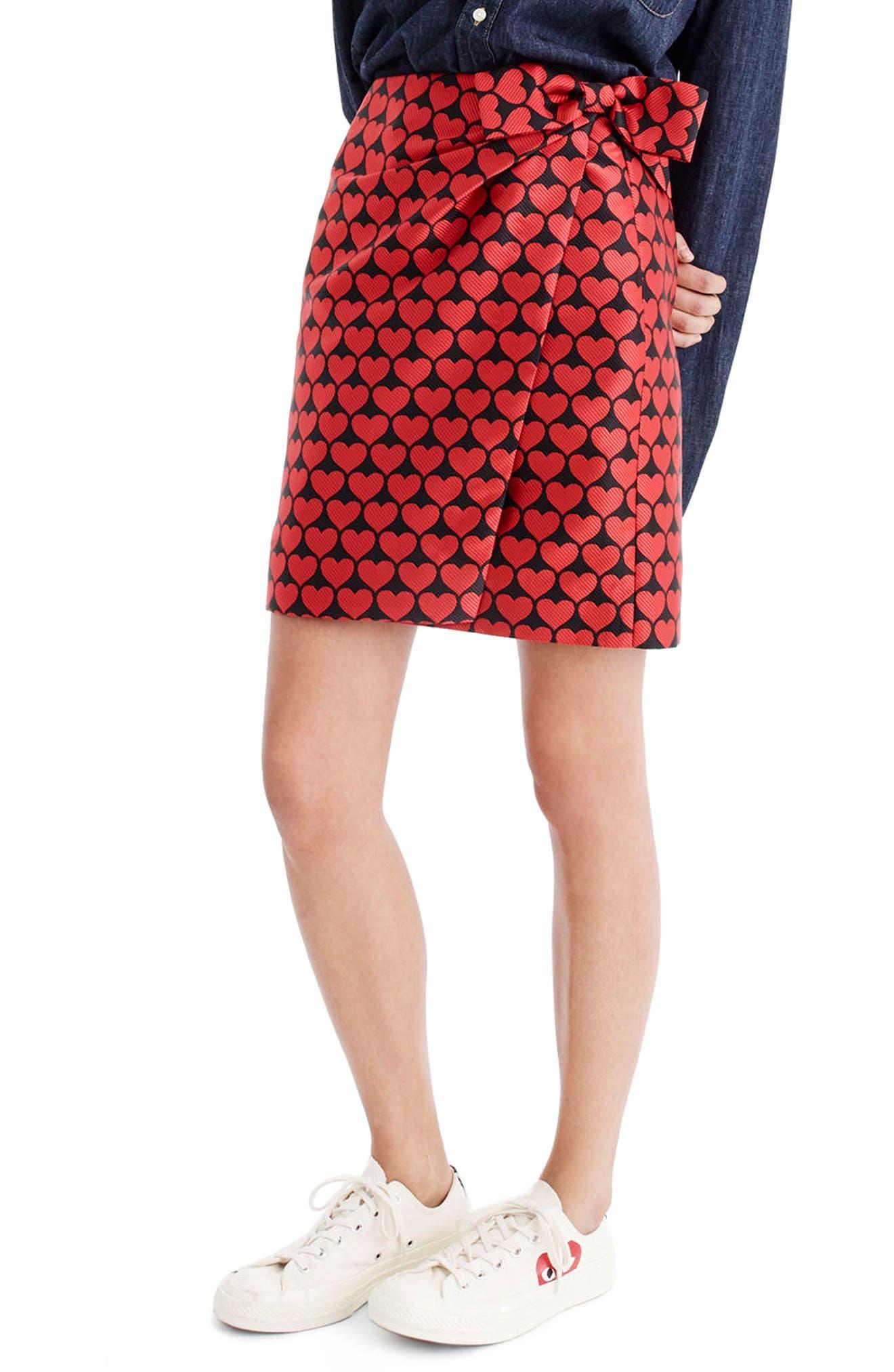 J.Crew Castlebar Snuggle Heart Skirt,                         Main,                         color, Electric Red