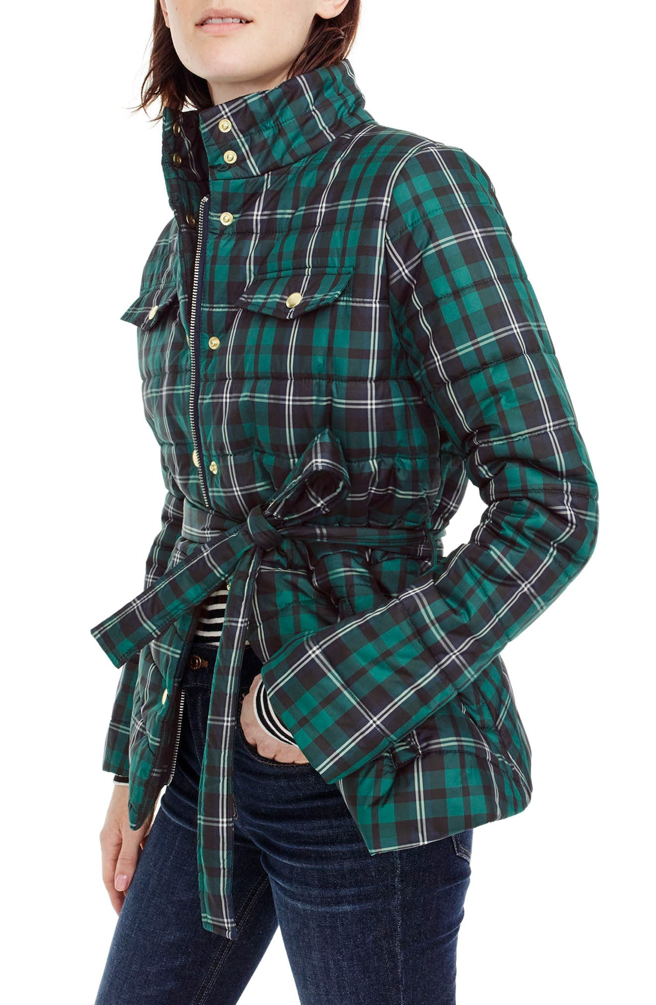 J.Crew Plaid Belted Puffer Jacket,                             Main thumbnail 1, color,                             Red White Gingham