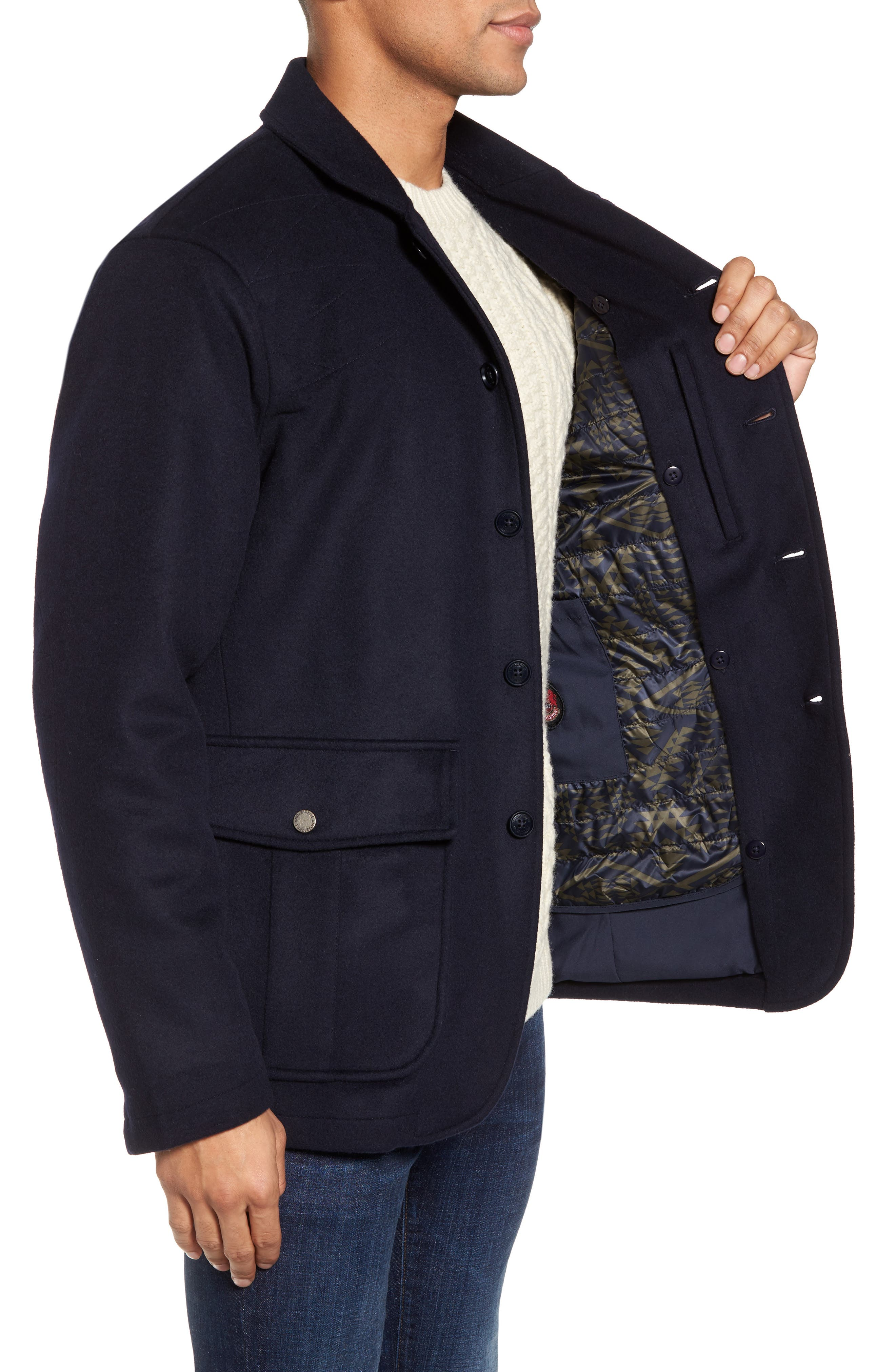 Wool Hybrid Blazer,                             Alternate thumbnail 3, color,                             Navy