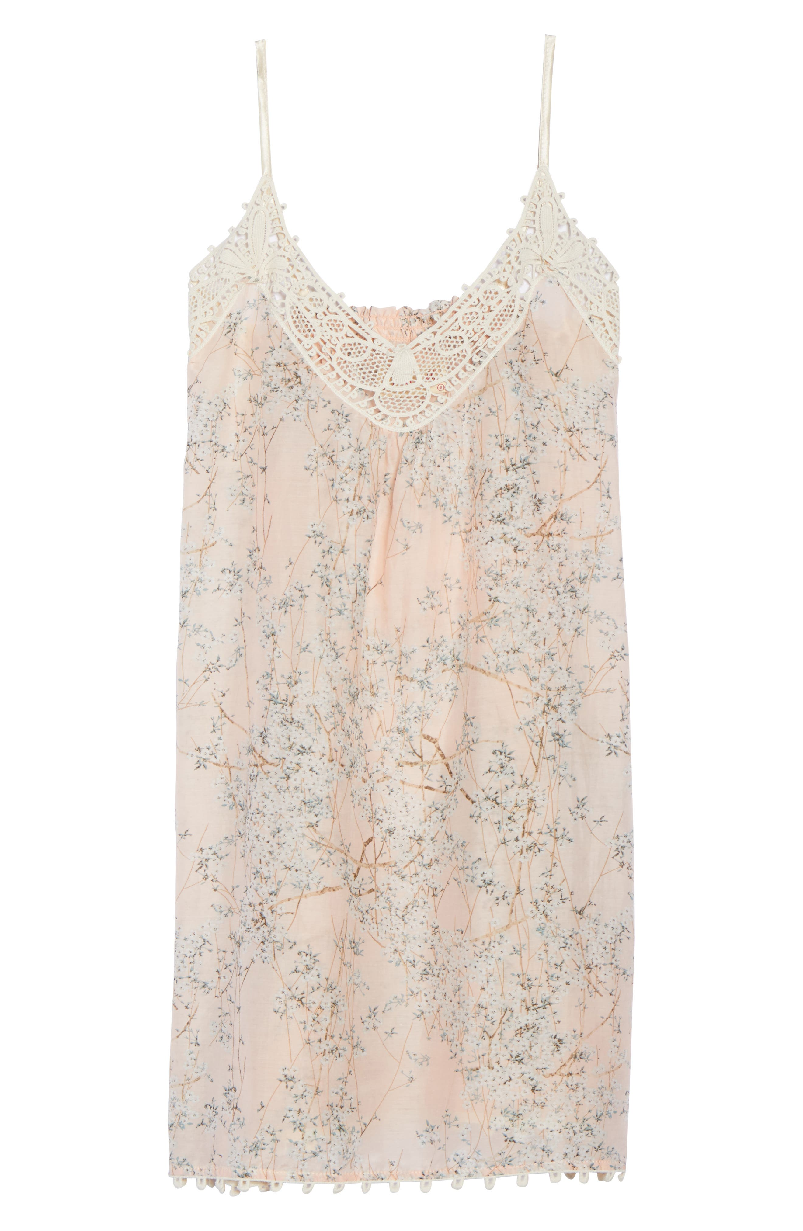 Cherry Blossom Cotton & Silk Chemise,                             Alternate thumbnail 4, color,                             Pink