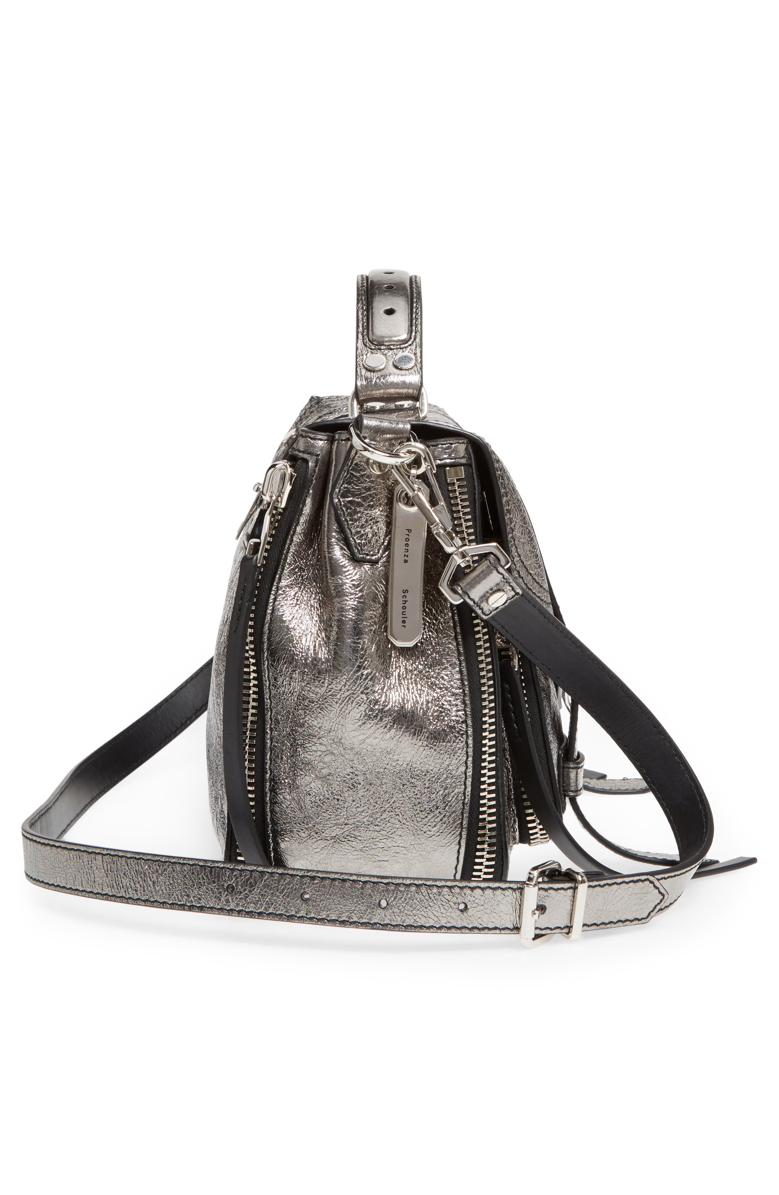 Medium PS1 Metallic Calfskin Satchel,                             Alternate thumbnail 5, color,                             Dark Silver