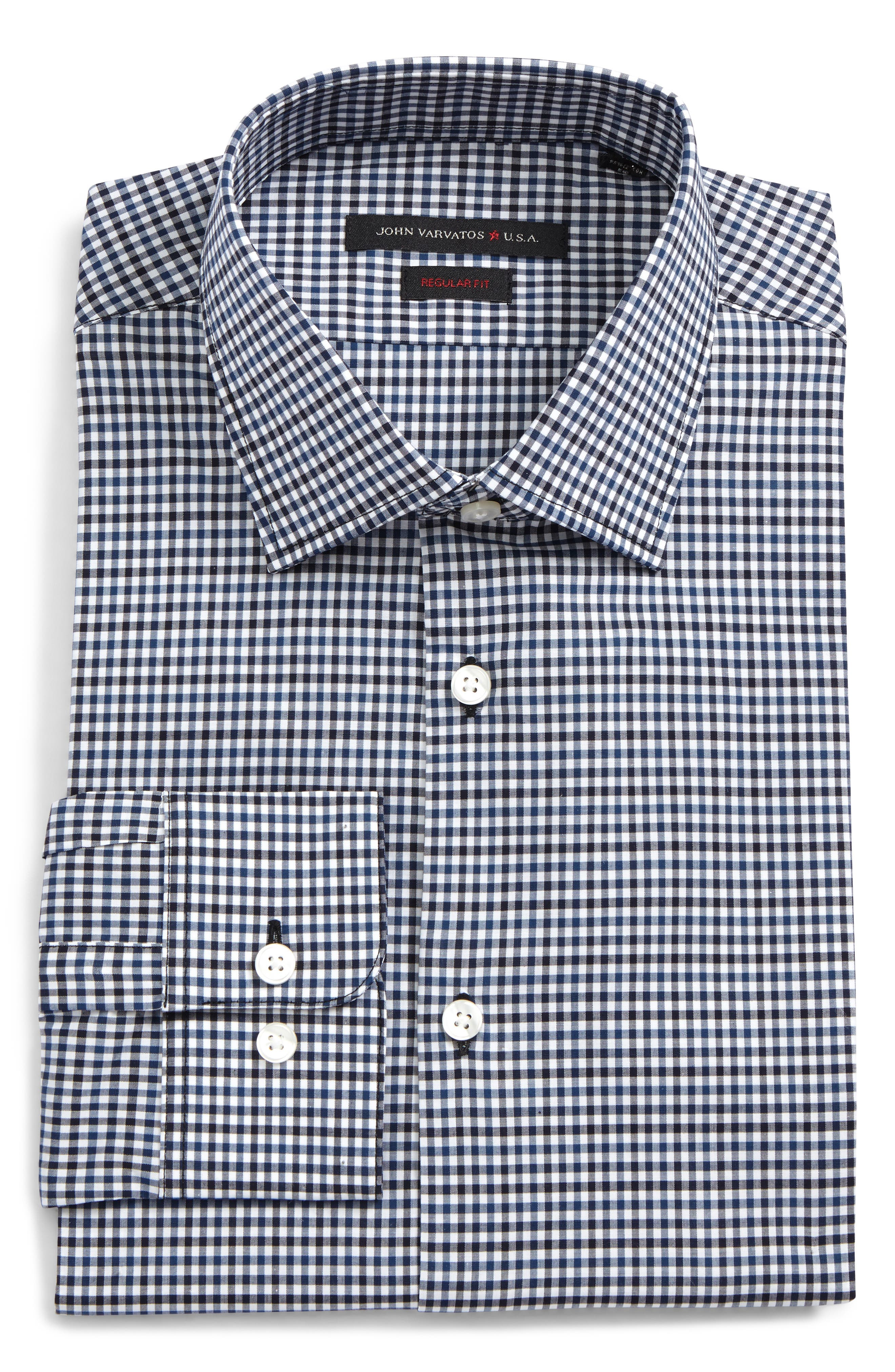 Regular Fit Stretch Check Dress Shirt,                         Main,                         color, Navy