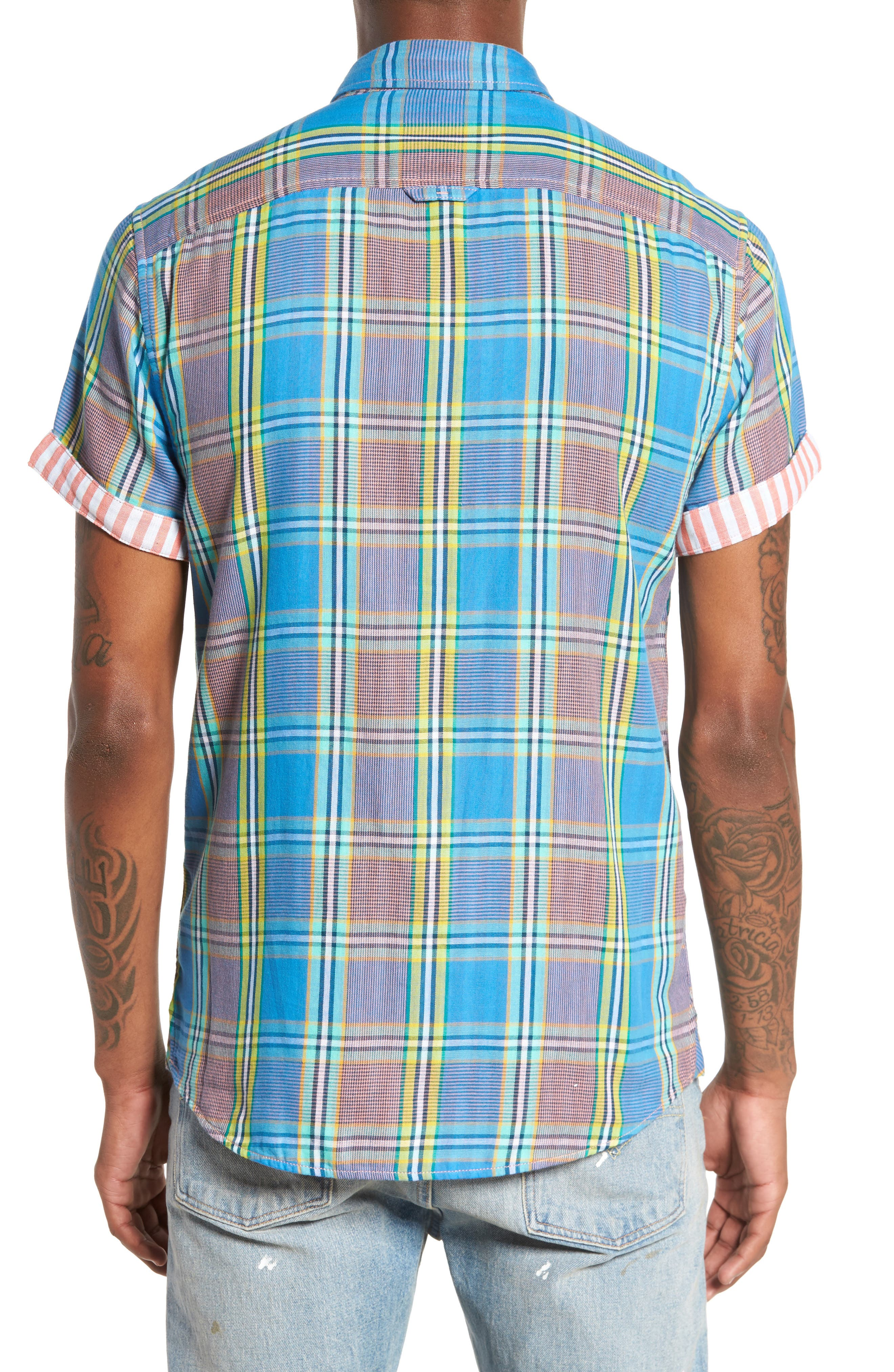 Short Sleeve Plaid Duofold Shirt,                             Alternate thumbnail 2, color,                             Blue Green Plaid Duo Fold