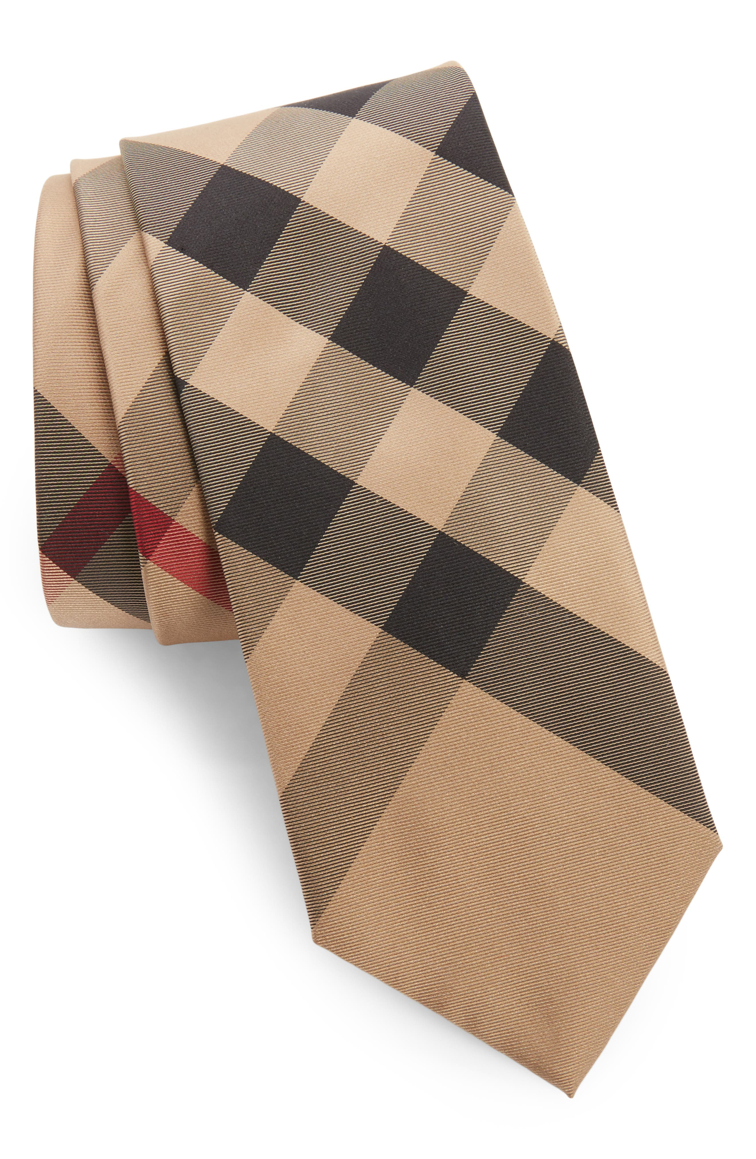 Manston Check Silk Tie,                         Main,                         color, Camel Check