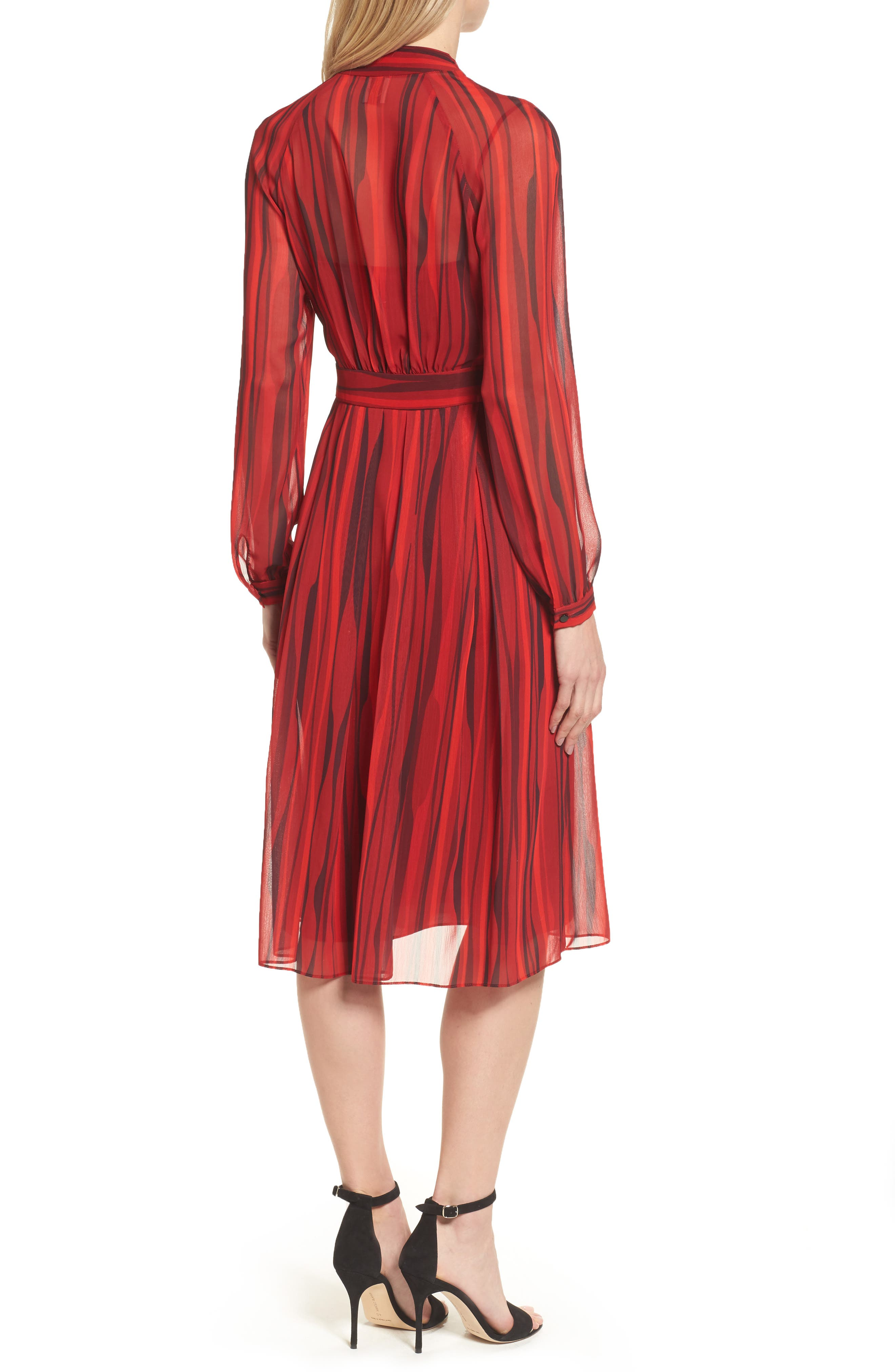 Fit & Flare Dress,                             Alternate thumbnail 2, color,                             Titian Red/ Black Combo
