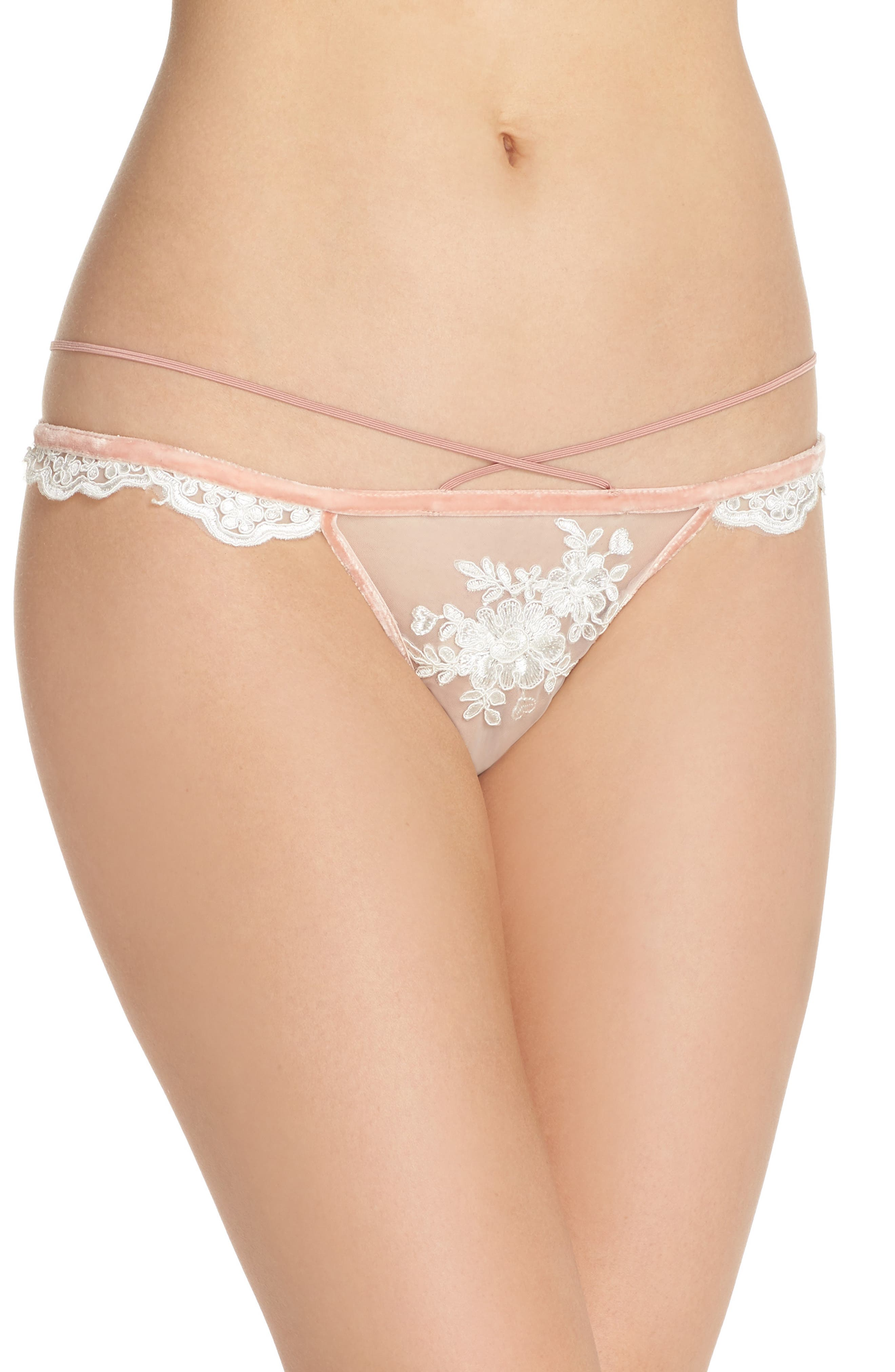 Noemi Strappy Scallop Lace Thong,                         Main,                         color, Blanc