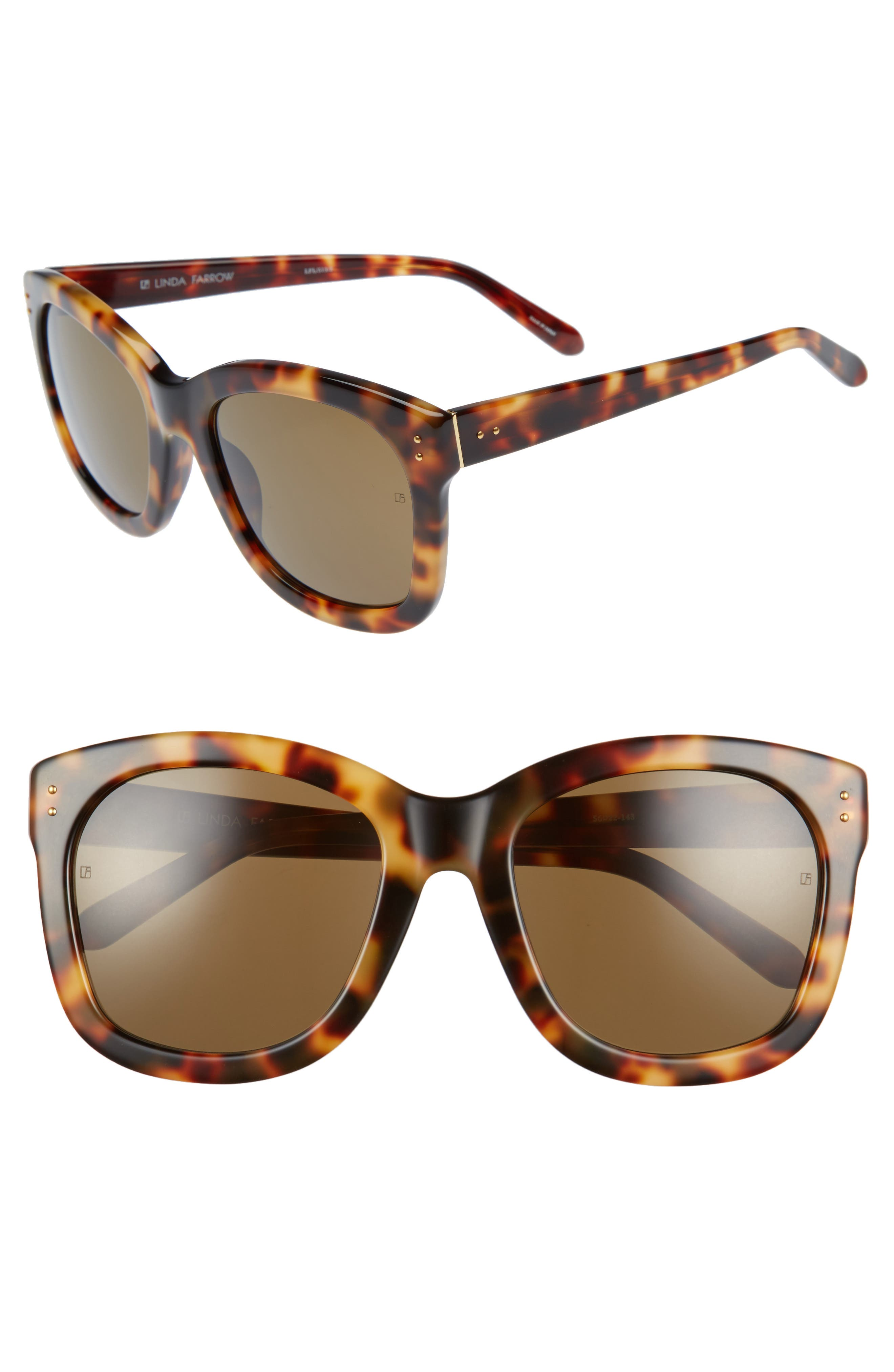 56mm Angular Sunglasses,                         Main,                         color, Tortoise/ Yellow Gold/ Brown