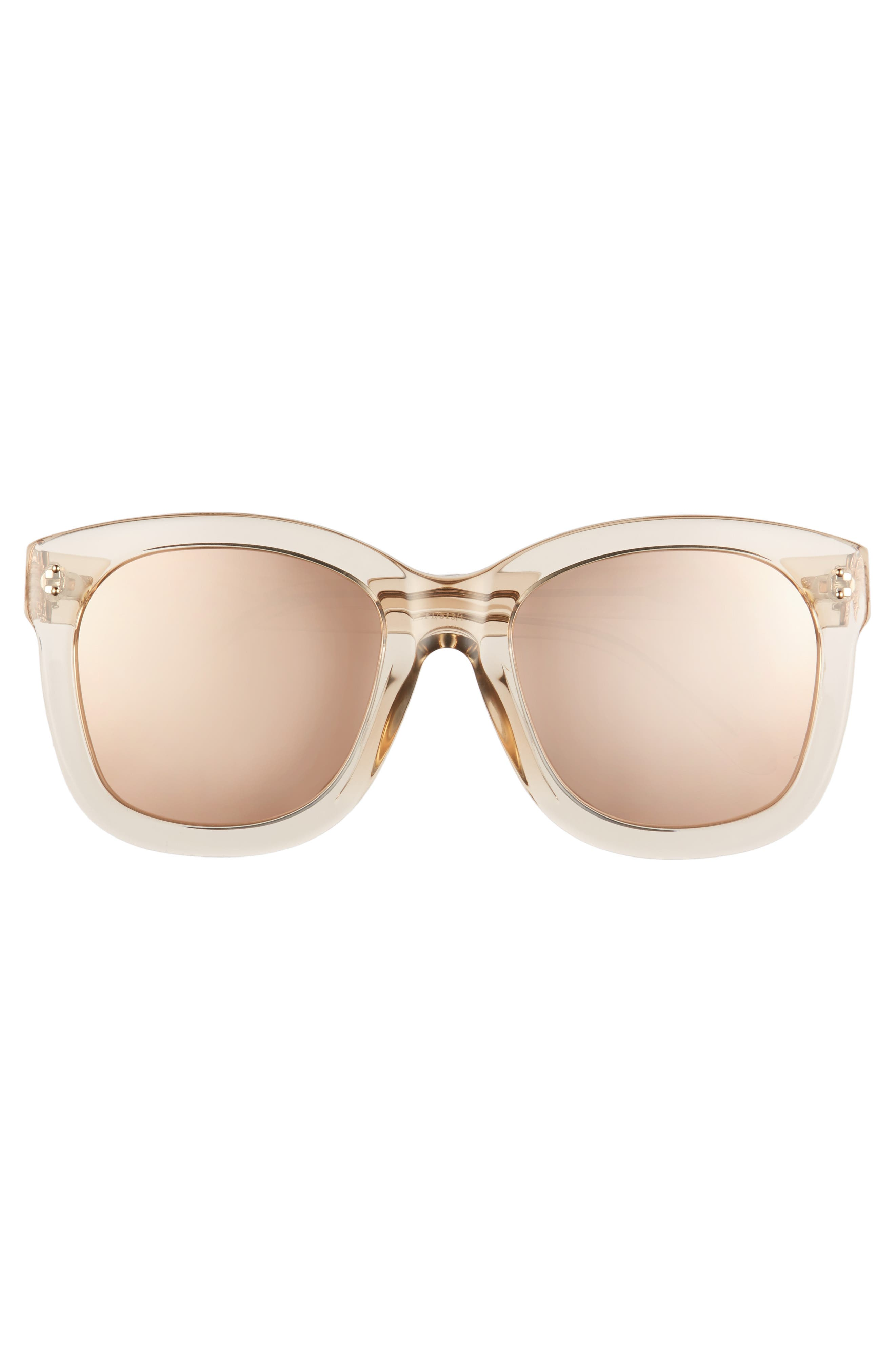 56mm Mirrored Sunglasses,                             Alternate thumbnail 3, color,                             Ash/ Rose Gold