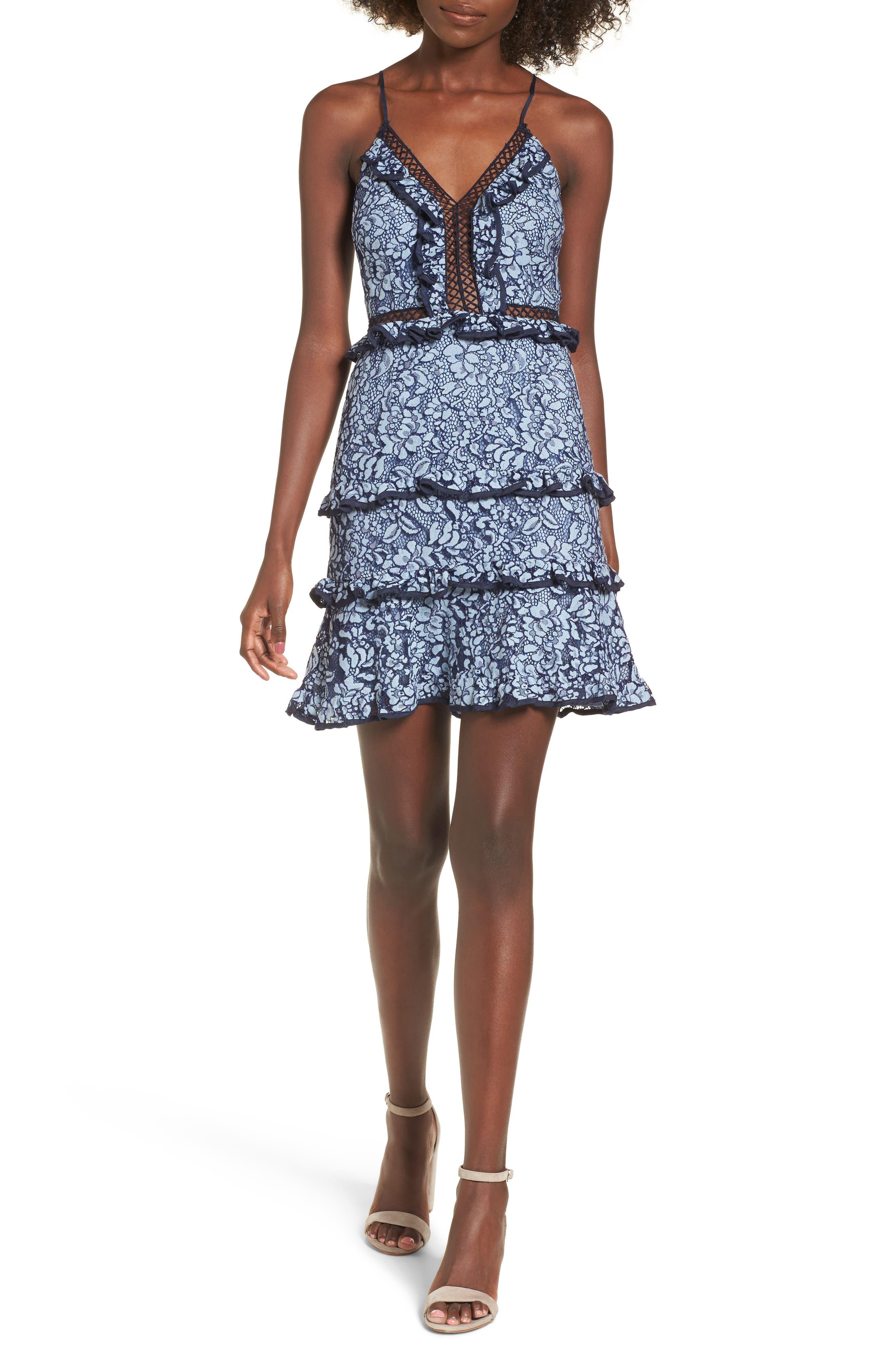 Catch Me Lace Minidress,                         Main,                         color, Dusk Blue