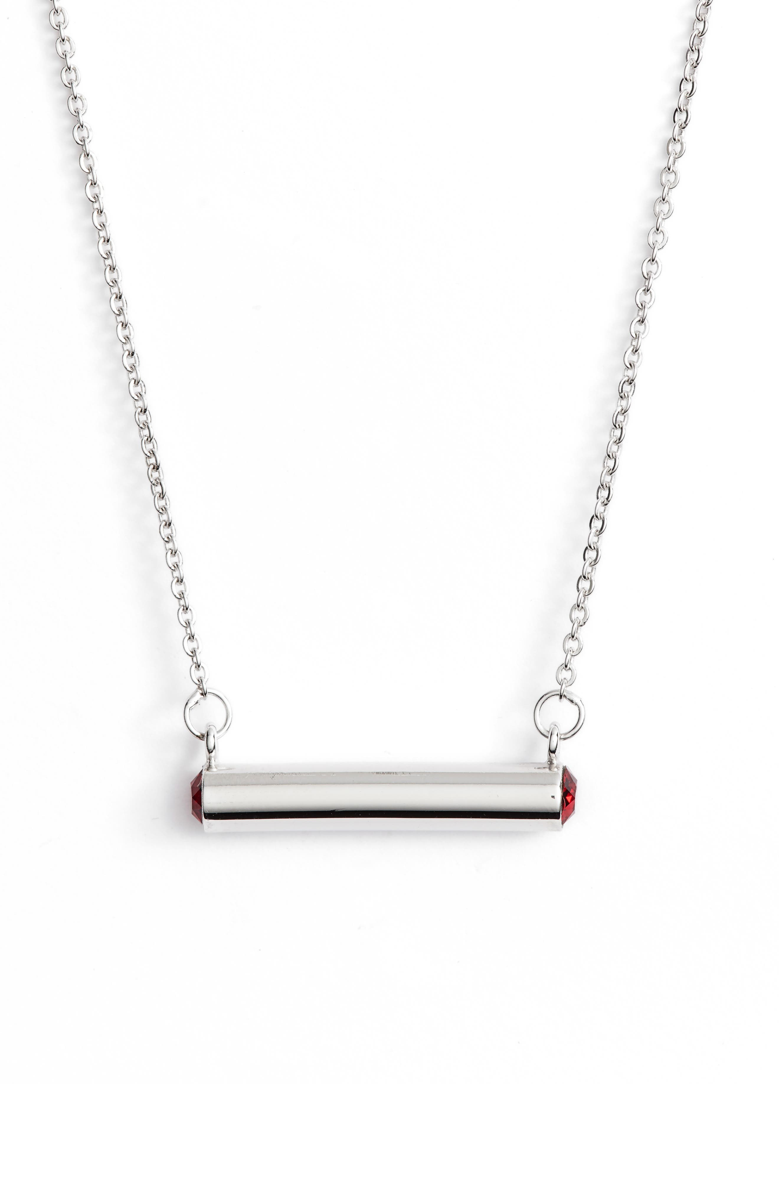 January Crystal Bar Pendant Necklace,                         Main,                         color, Silver