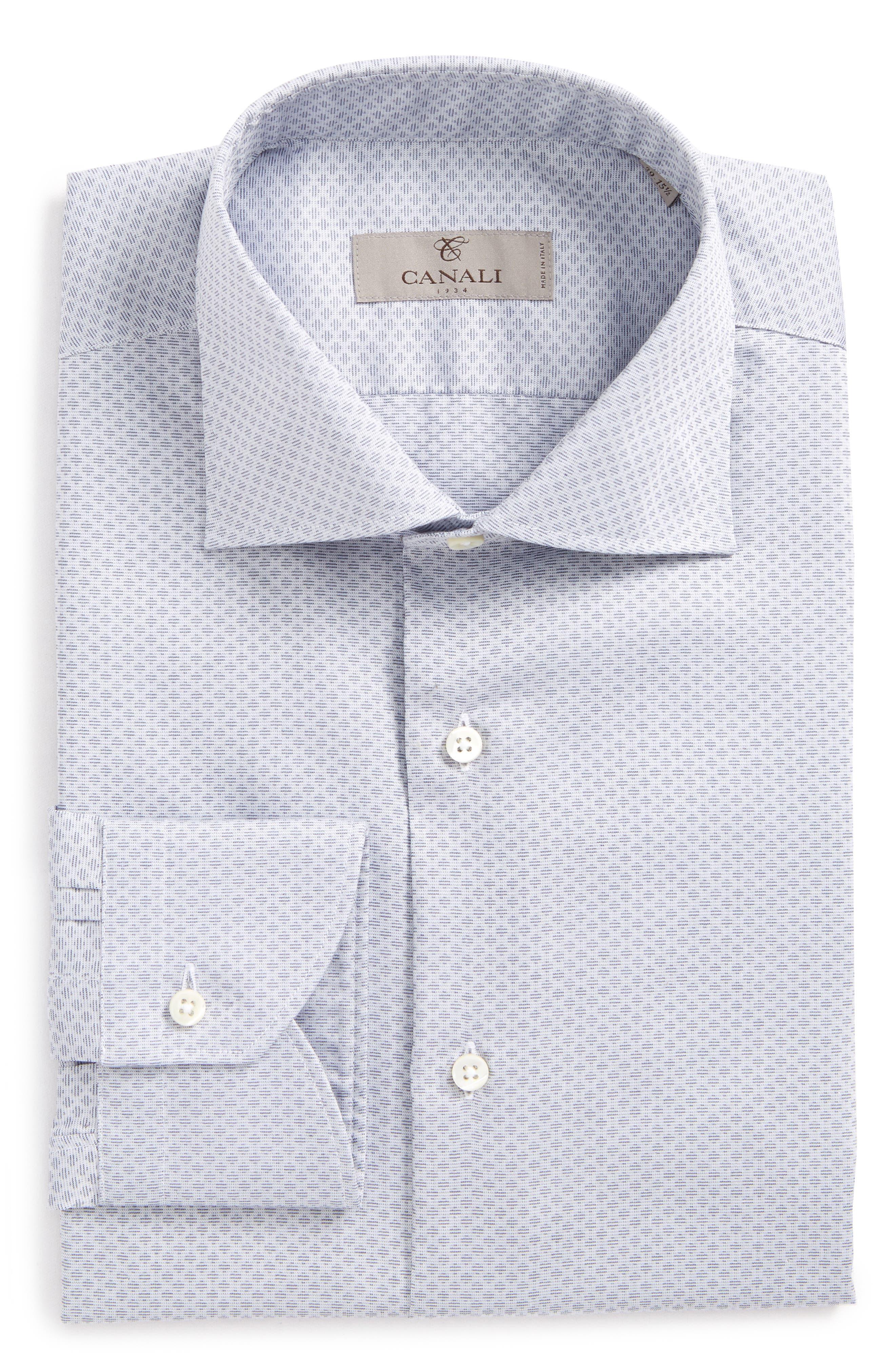 Regular Fit Geometric Dress Shirt,                         Main,                         color, Grey