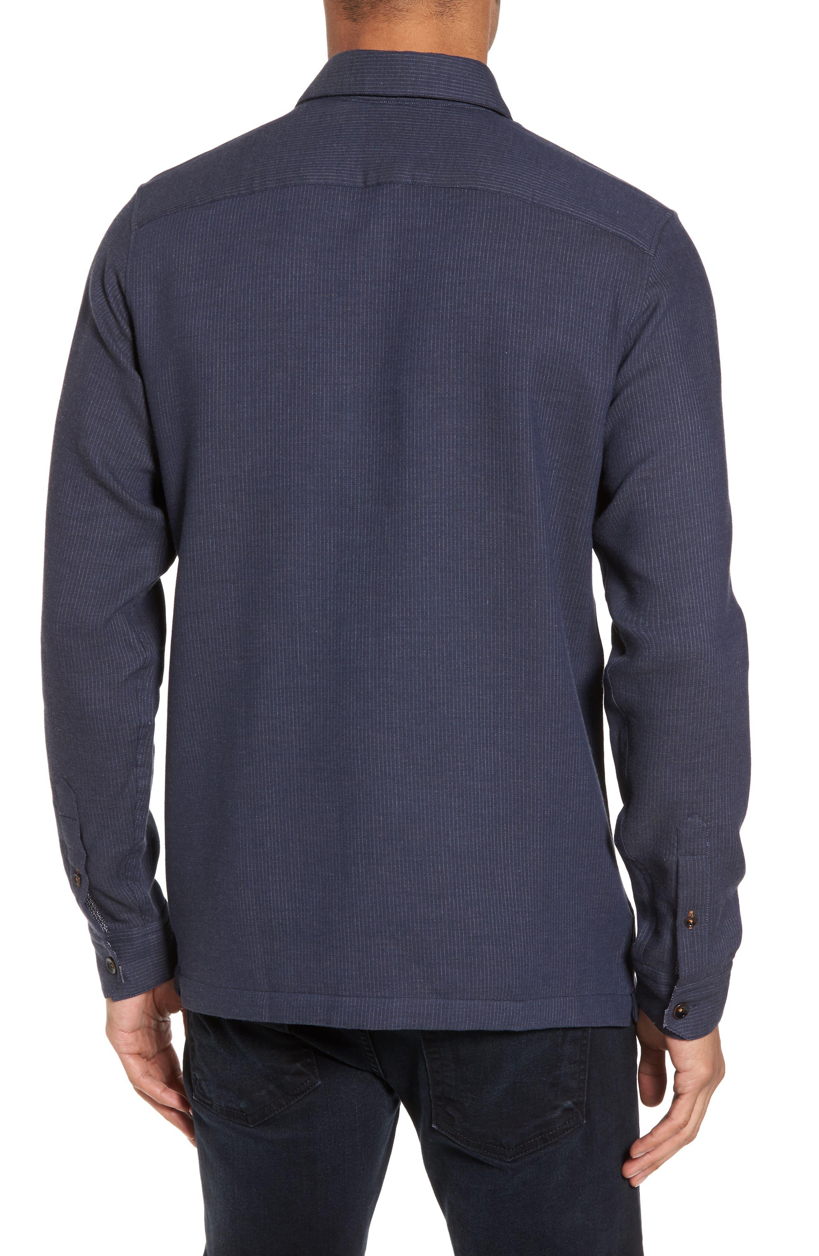 Slim Fit Stripe Workwear Shirt,                             Alternate thumbnail 2, color,                             Navy