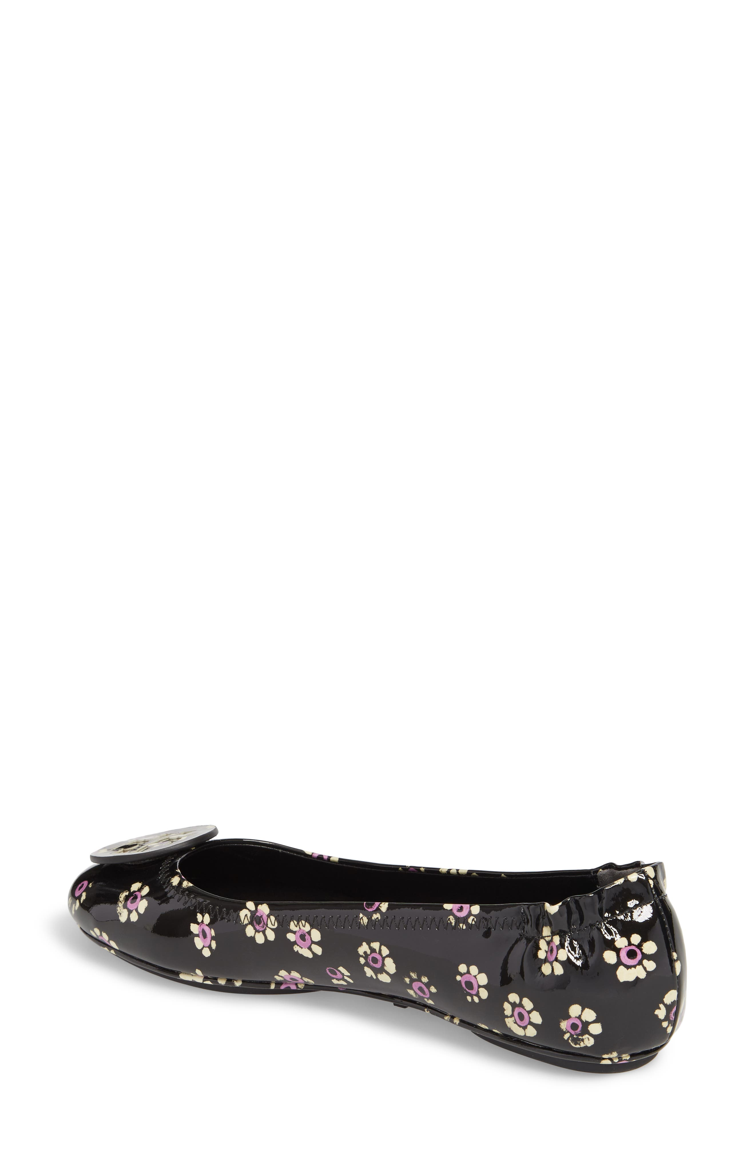 'Minnie' Travel Ballet Flat,                             Alternate thumbnail 2, color,                             Black Stamped Floral
