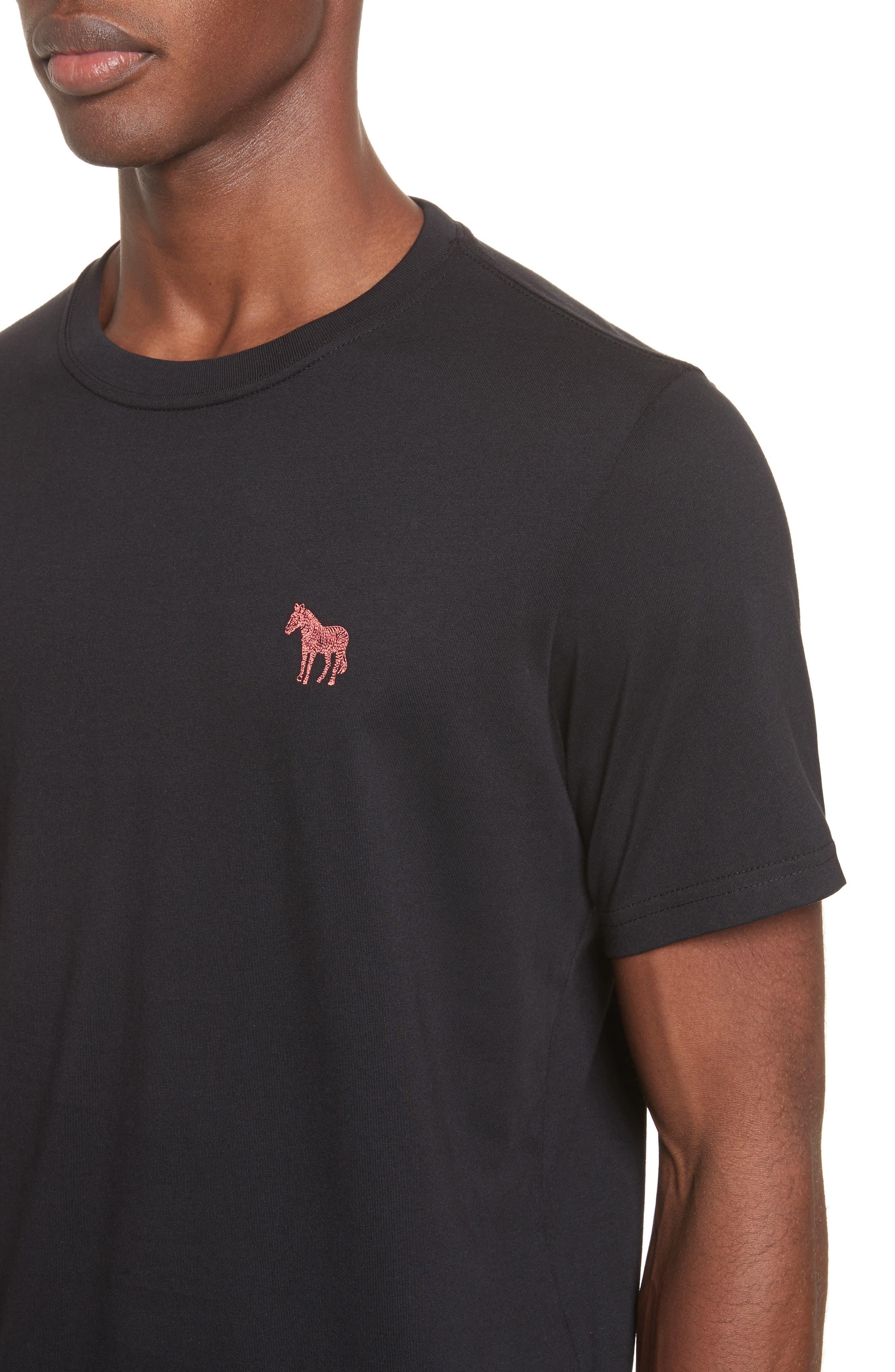 Embroidered Zebra T-Shirt,                             Alternate thumbnail 4, color,                             Black