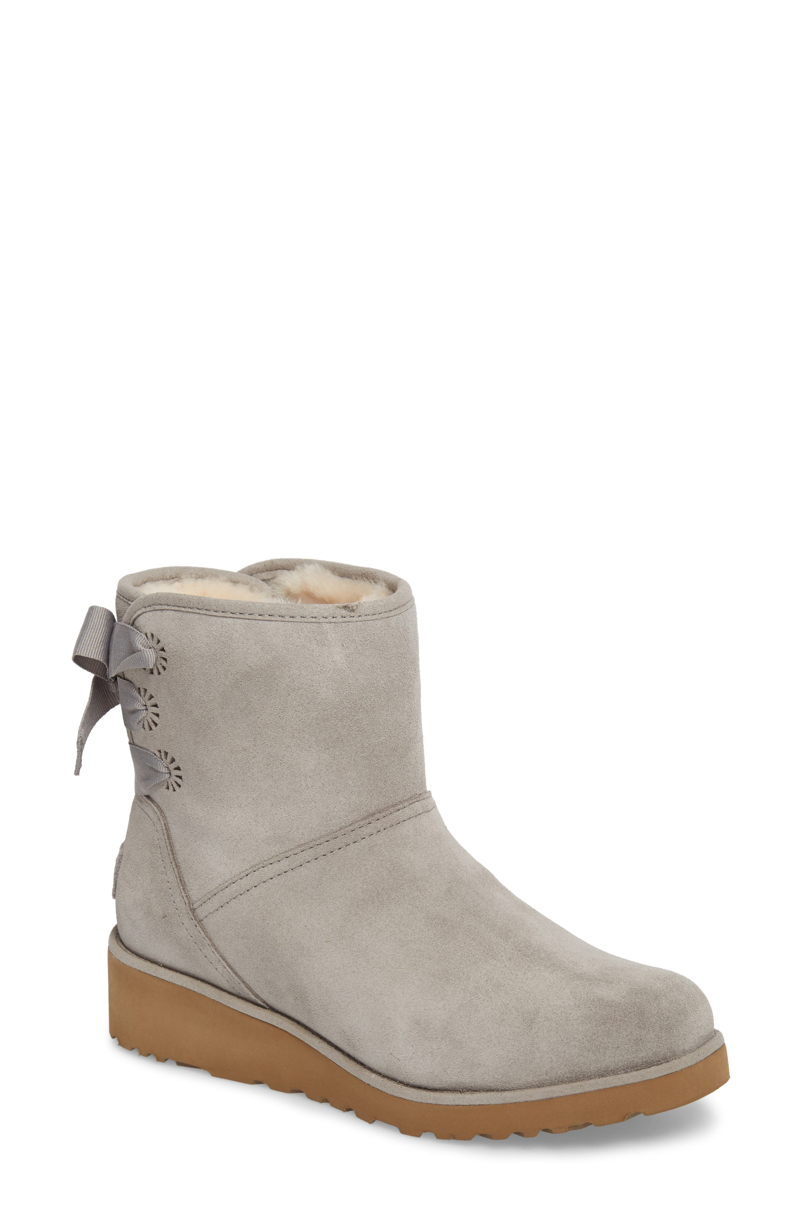 Drew Sunshine Perforated Tie Back Boot,                             Main thumbnail 1, color,                             Seal Suede