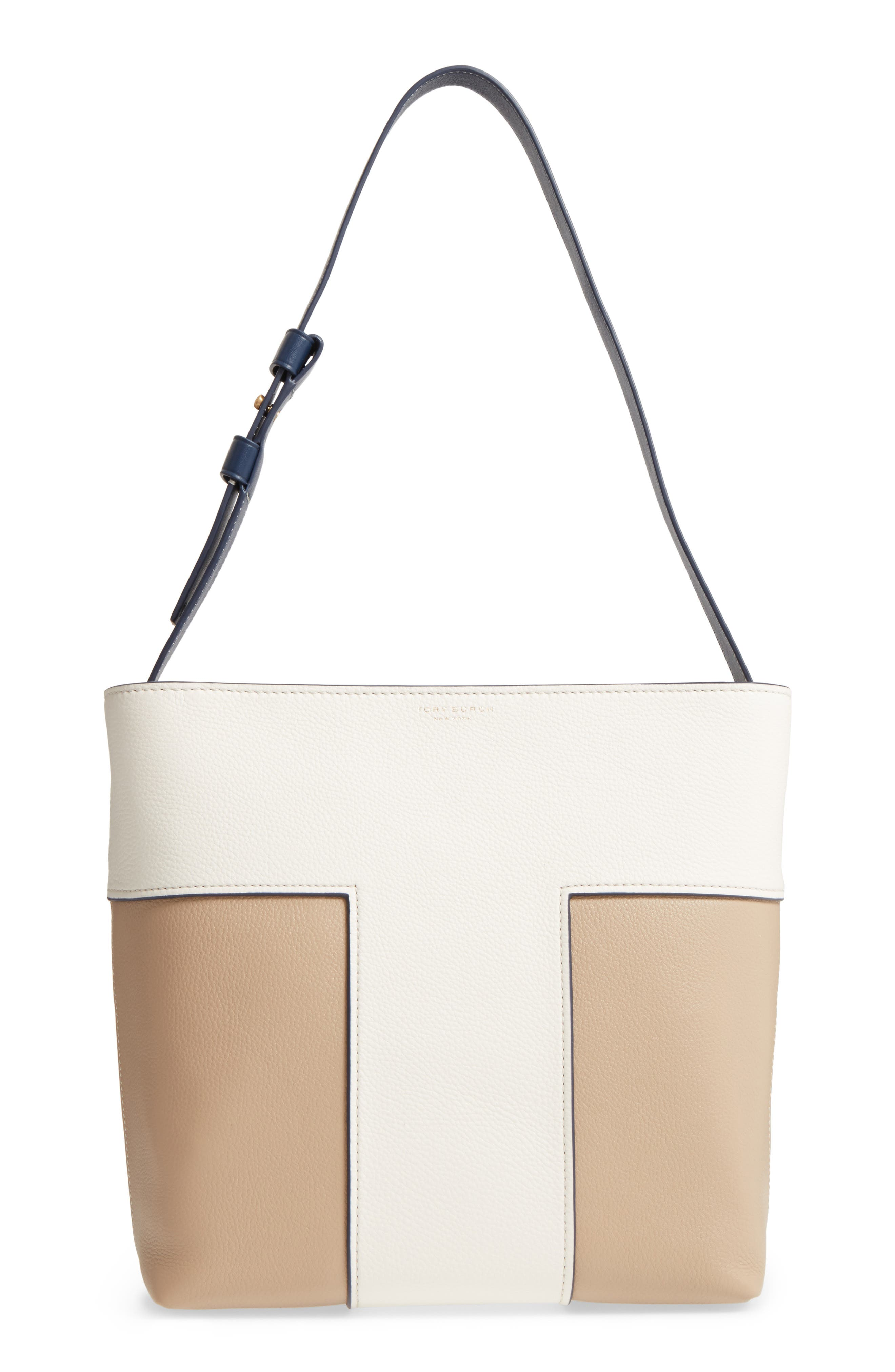 Main Image - Tory Burch Block-T Bicolor Pebbled Leather Hobo