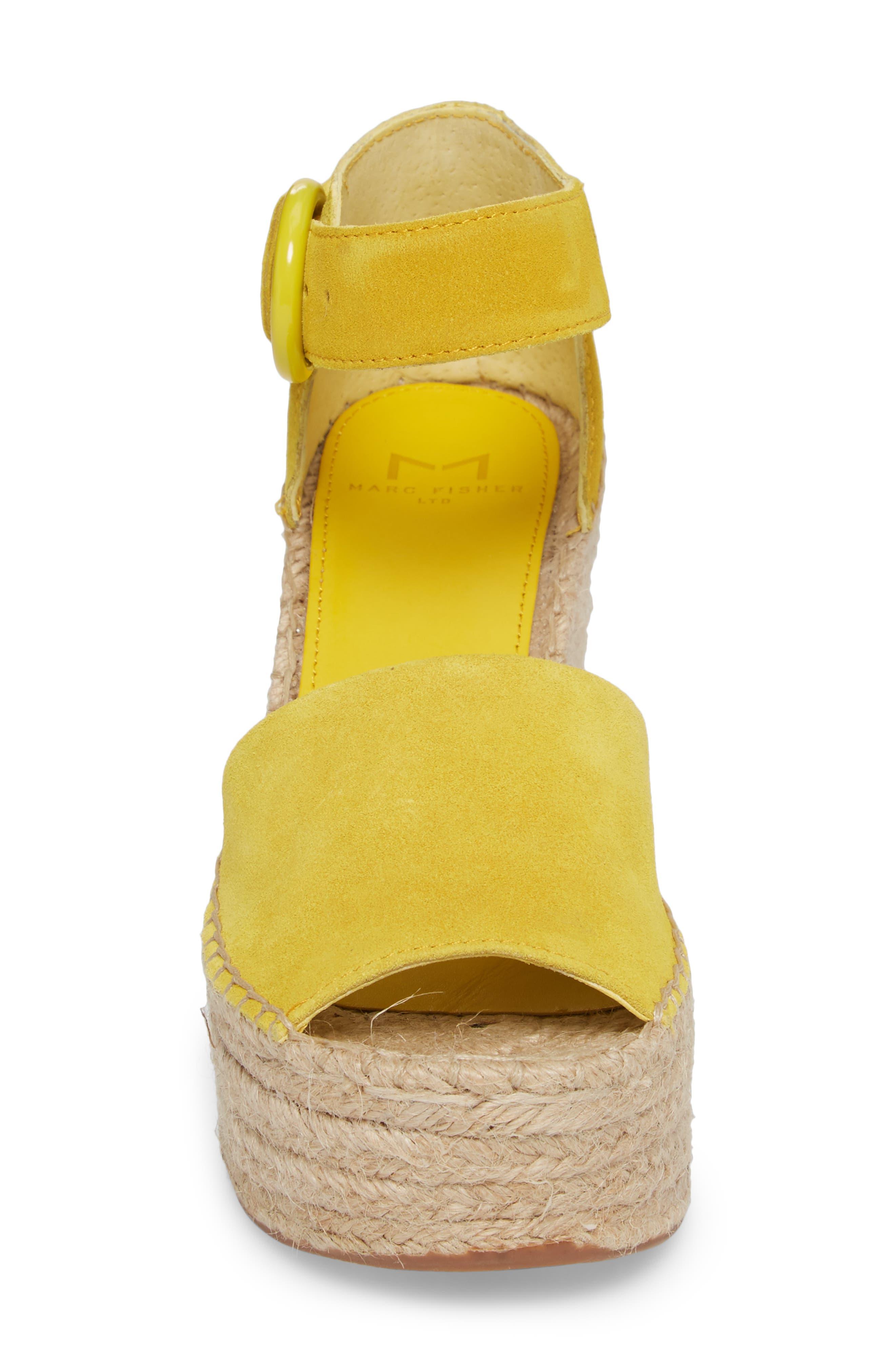 Alida Espadrille Platform Wedge,                             Alternate thumbnail 4, color,                             Yellow Suede