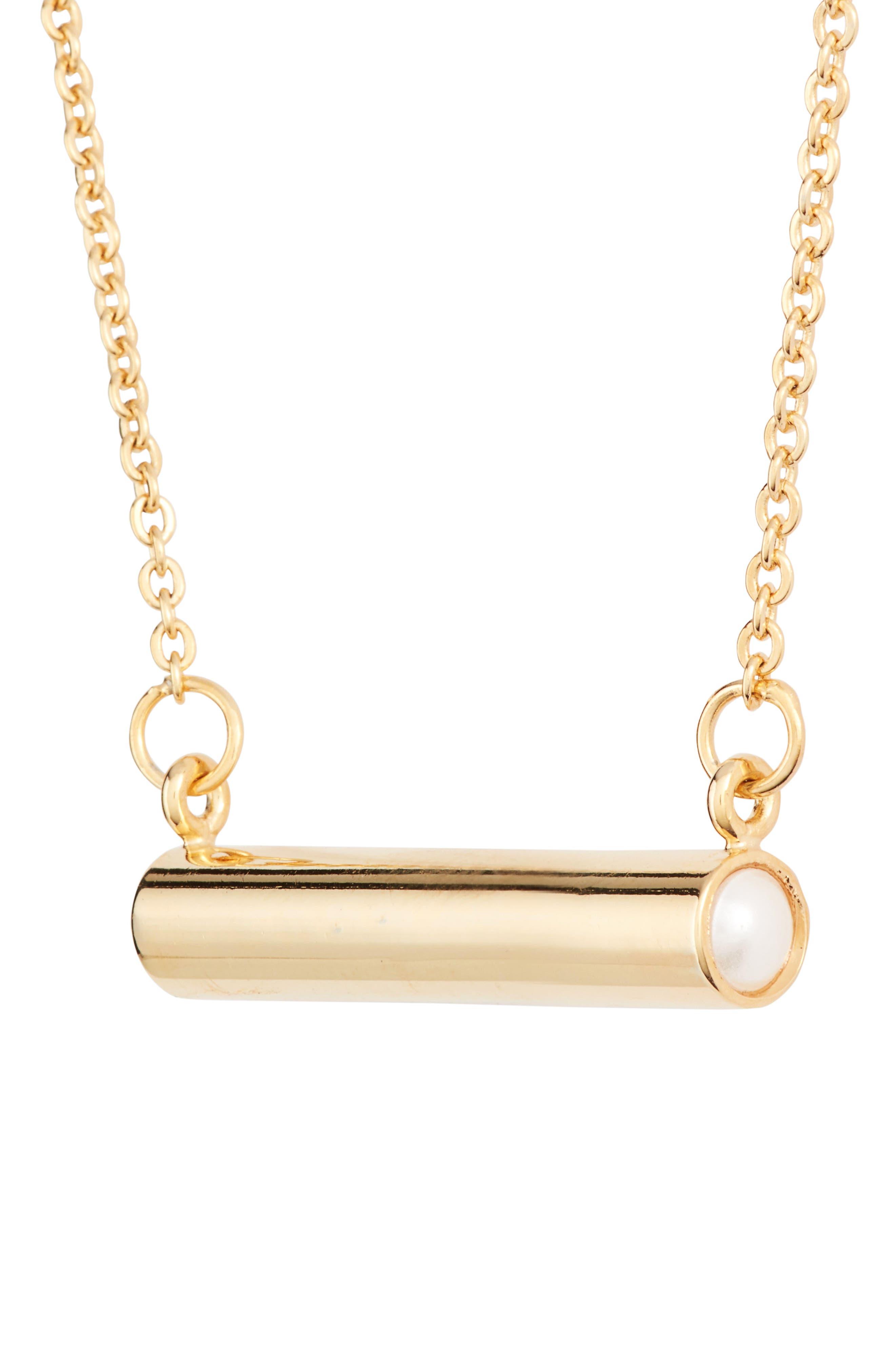 June Imitation Pearl Bar Pendant Necklace,                             Alternate thumbnail 3, color,                             Gold