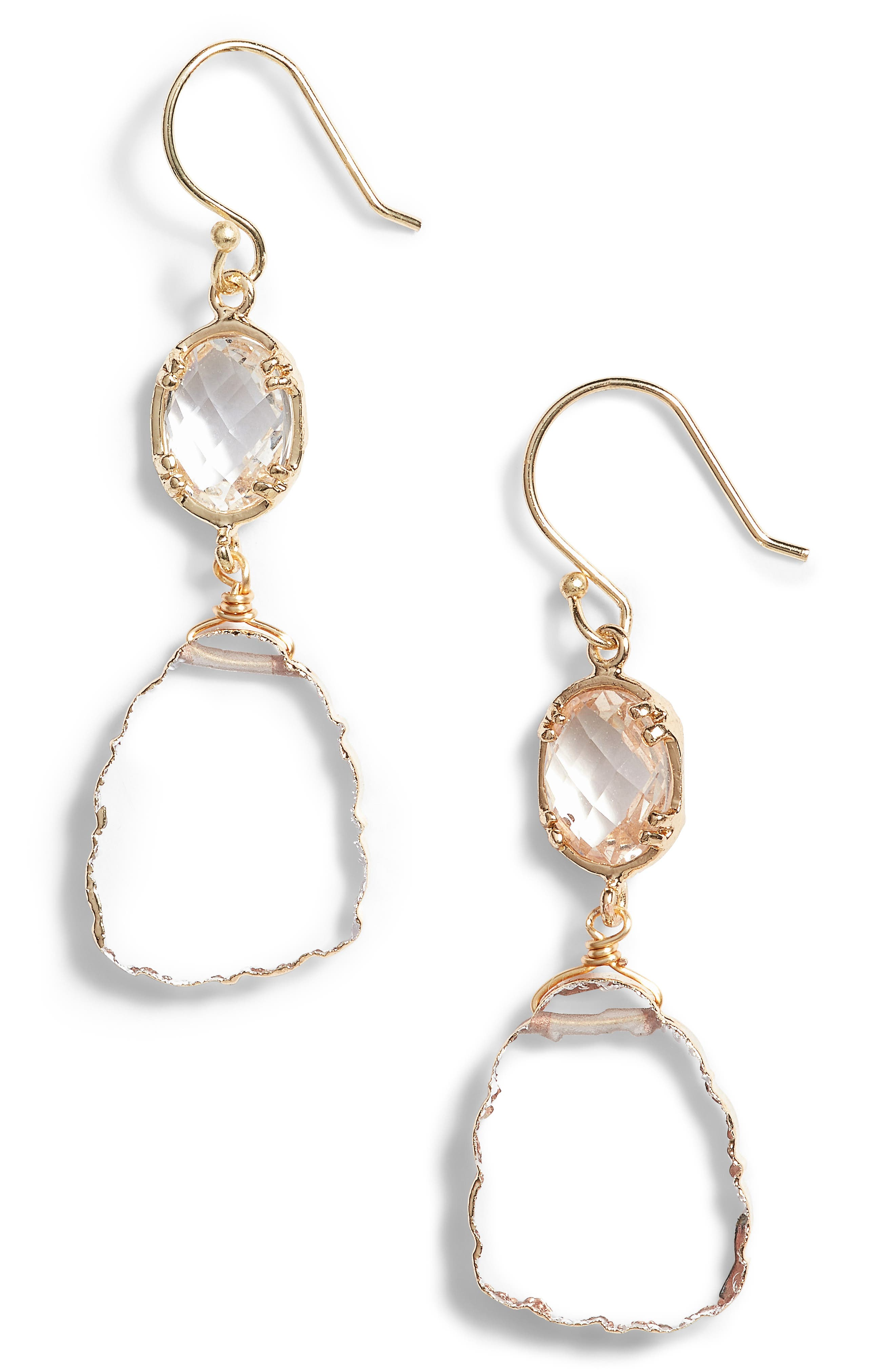 Double Drop Earrings,                         Main,                         color, Gold/ Clear