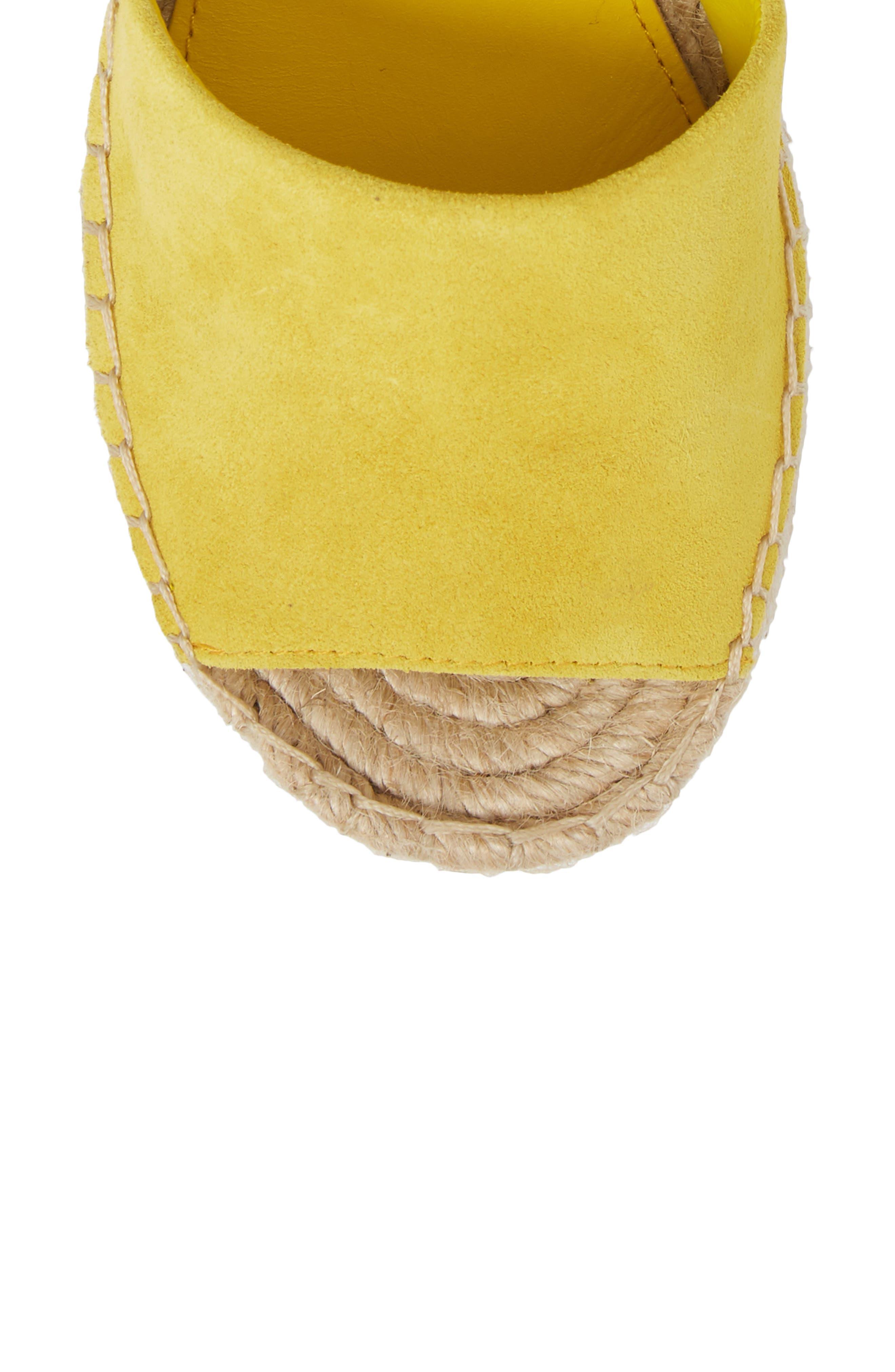 Alida Espadrille Platform Wedge,                             Alternate thumbnail 5, color,                             Yellow Suede