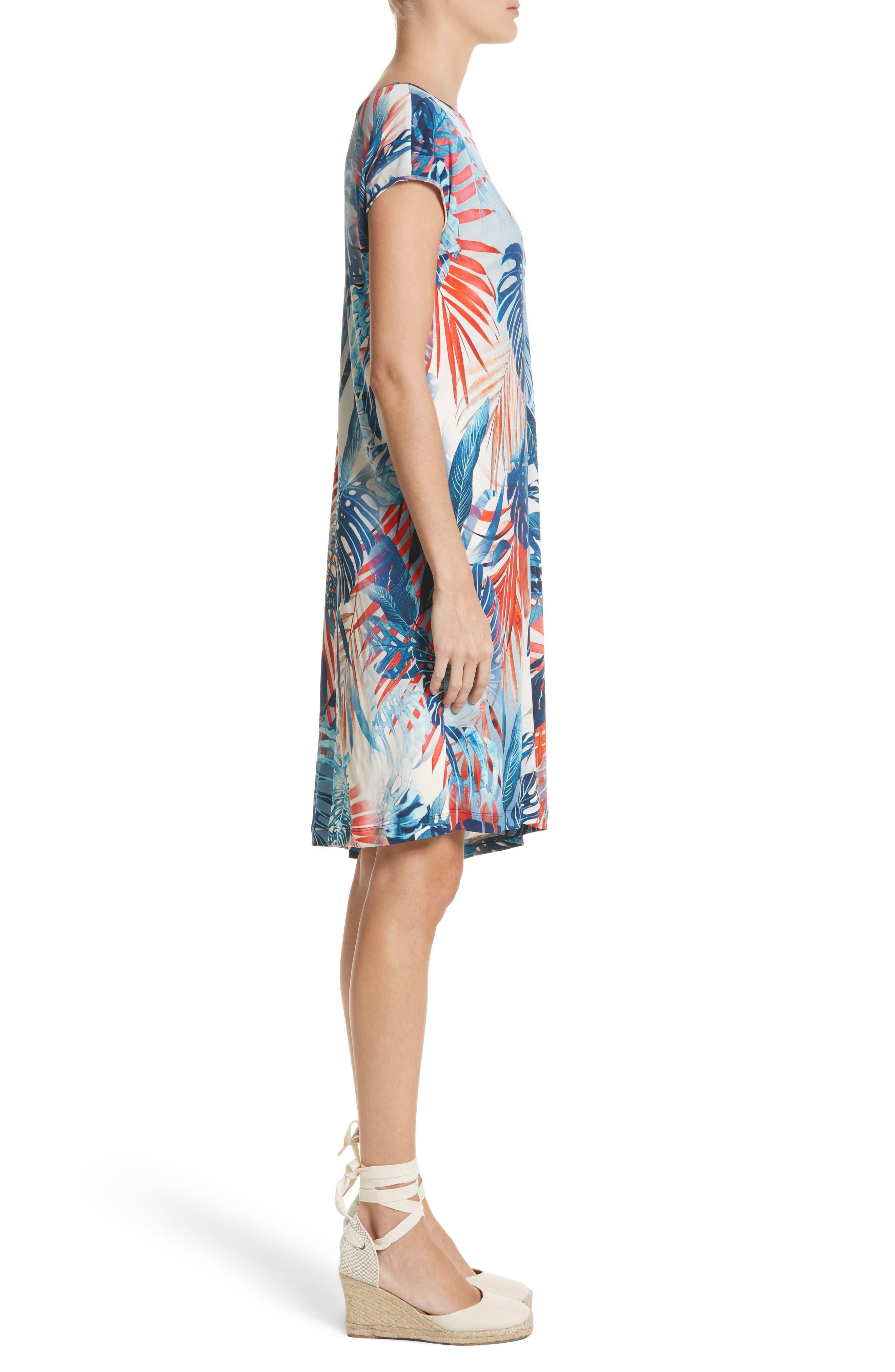 Foliage Print Asymmetrical Short Sleeve Shift Dress,                             Alternate thumbnail 3, color,                             Zaffiro