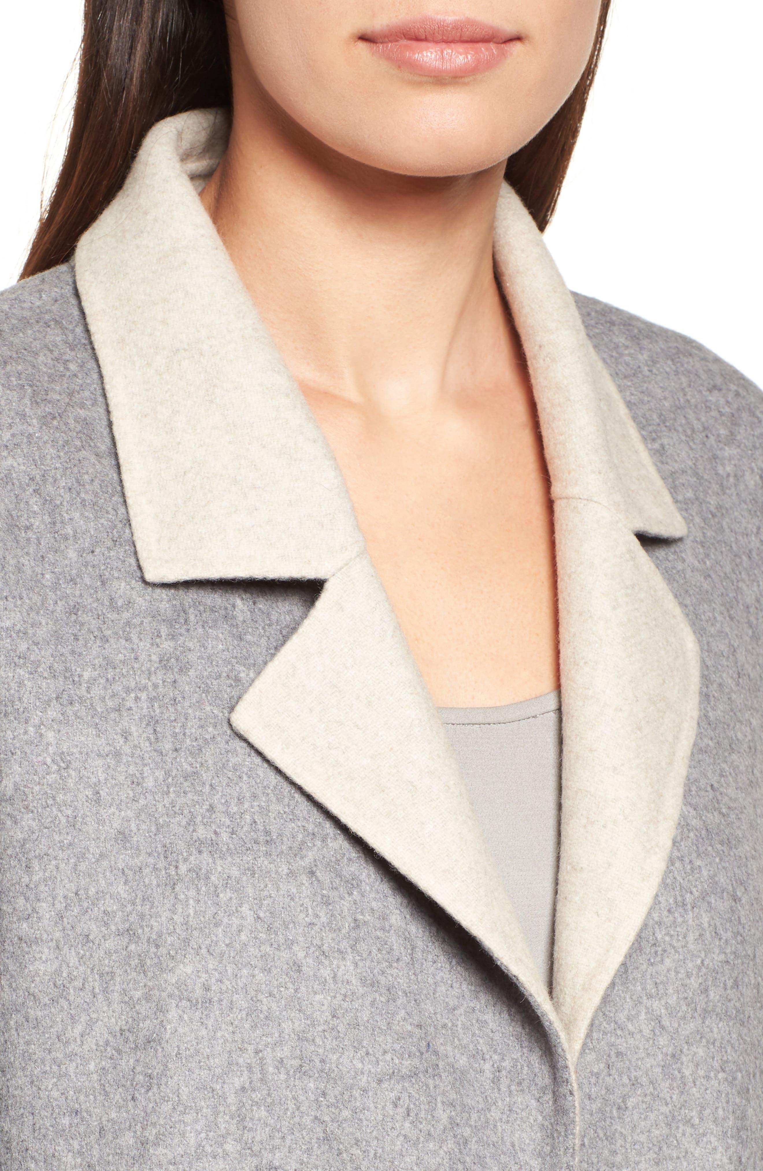 Notch Collar Long Wool Blend Jacket,                             Alternate thumbnail 5, color,                             Dark Pearl/ Maple Oat
