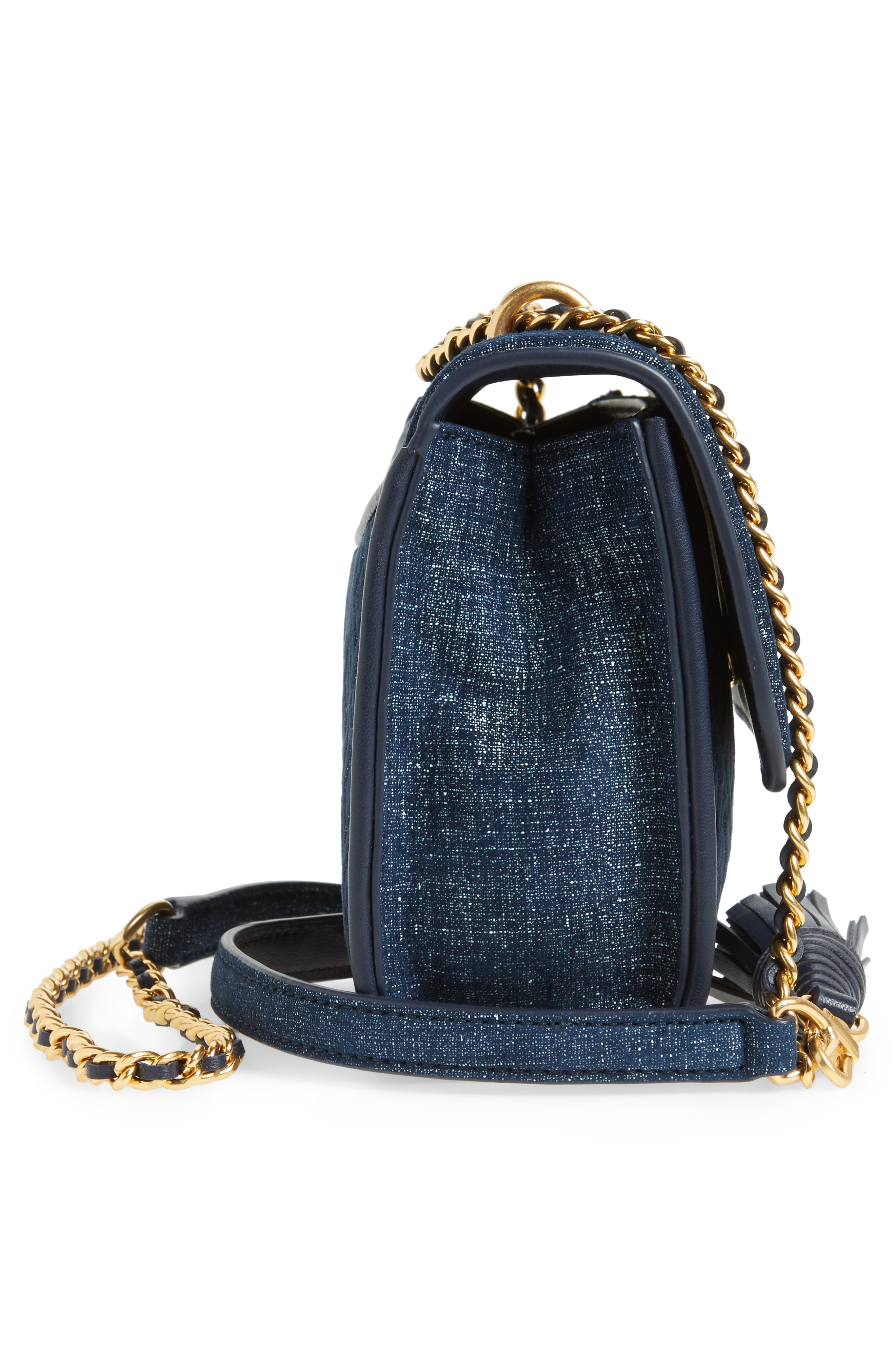 Small Fleming Logo Quilted Denim Shoulder/Crossbody Bag,                             Alternate thumbnail 5, color,                             Tory Navy