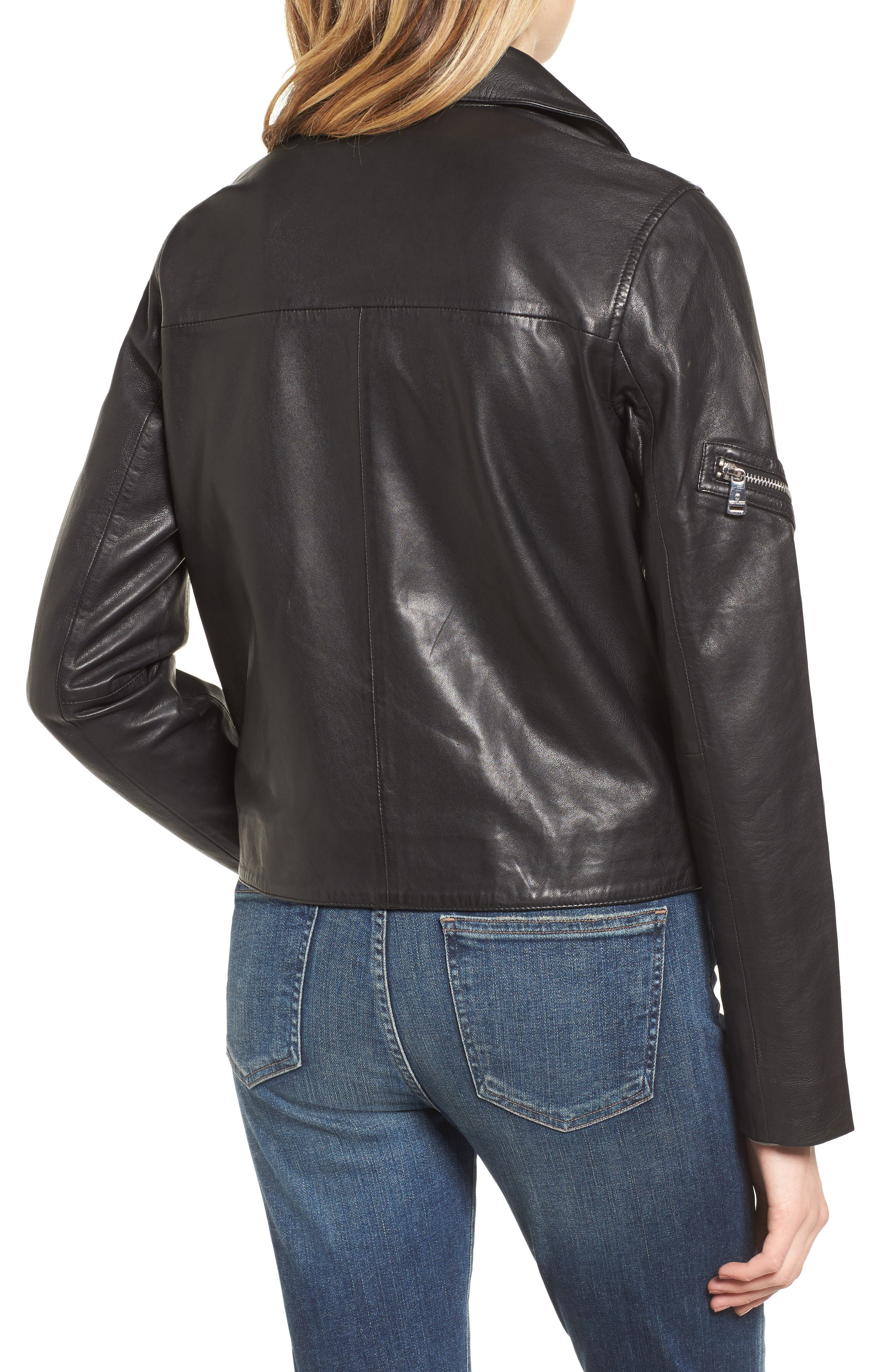 Kirwin Leather Moto Jacket,                             Alternate thumbnail 2, color,                             Black