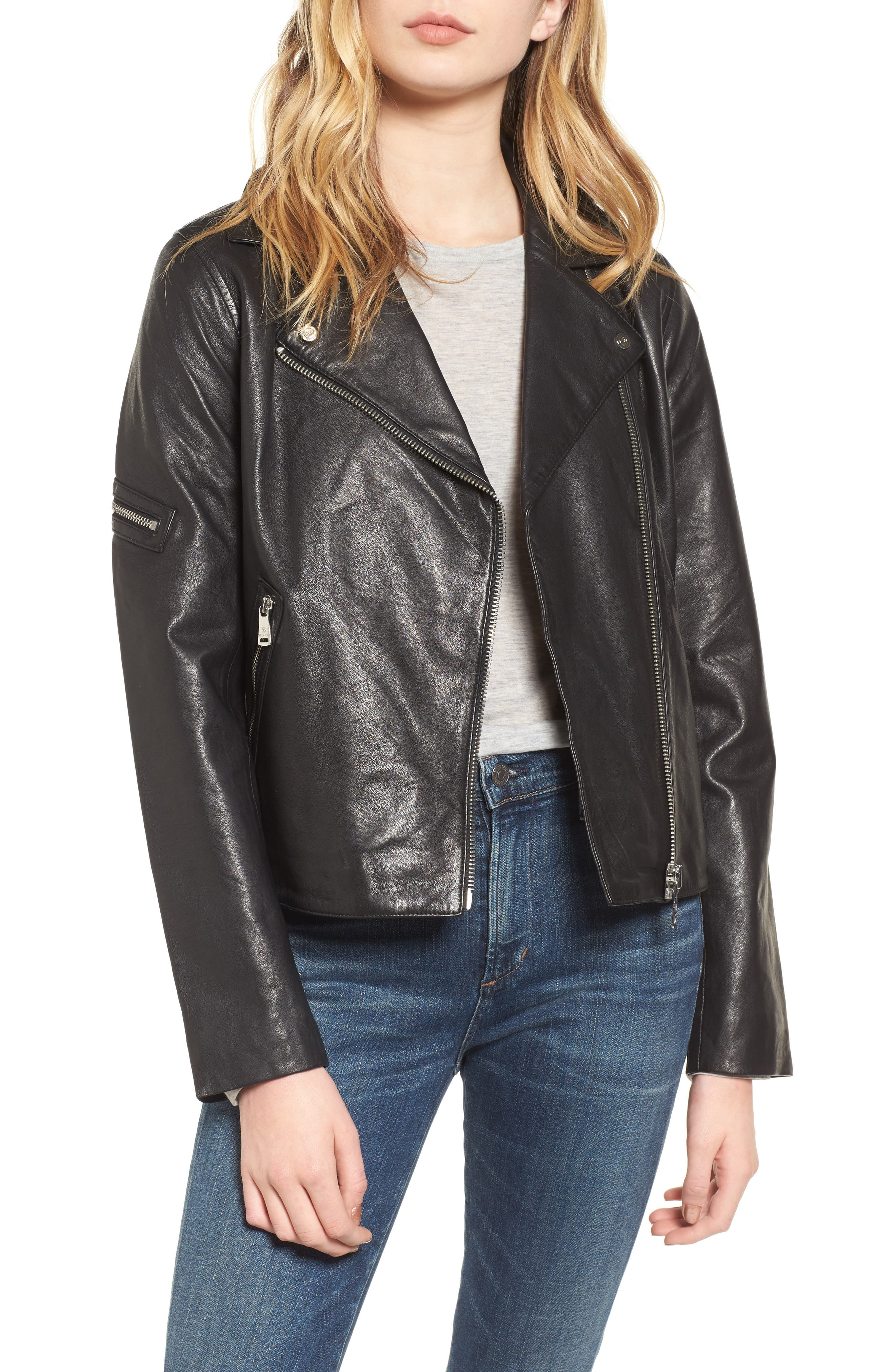 Kirwin Leather Moto Jacket,                             Main thumbnail 1, color,                             Black