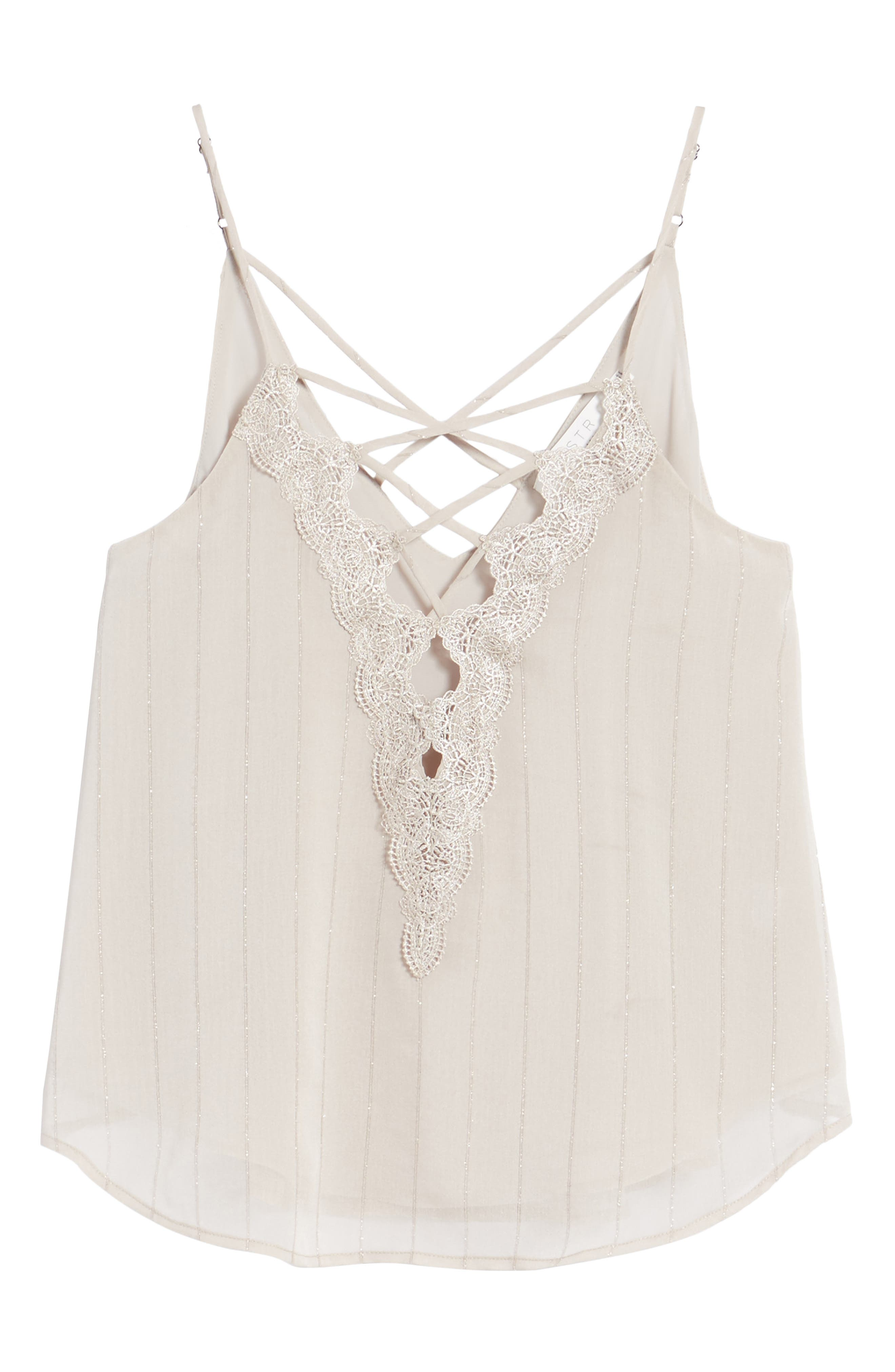 Lace-Up Camisole,                         Main,                         color, Grey Chateau