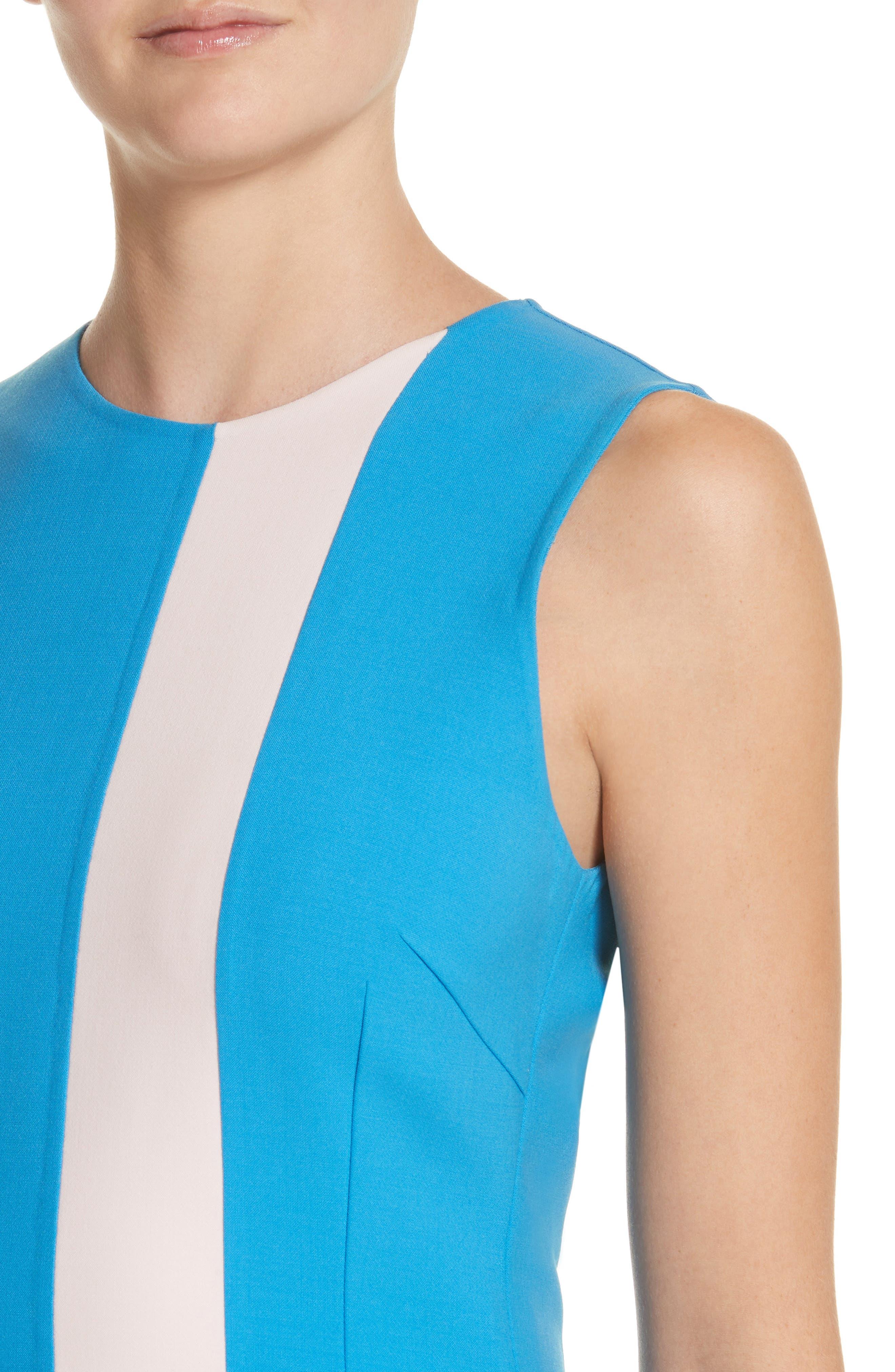Vertical Stripe Dress,                             Alternate thumbnail 4, color,                             Cerulean/ Lotus Pink