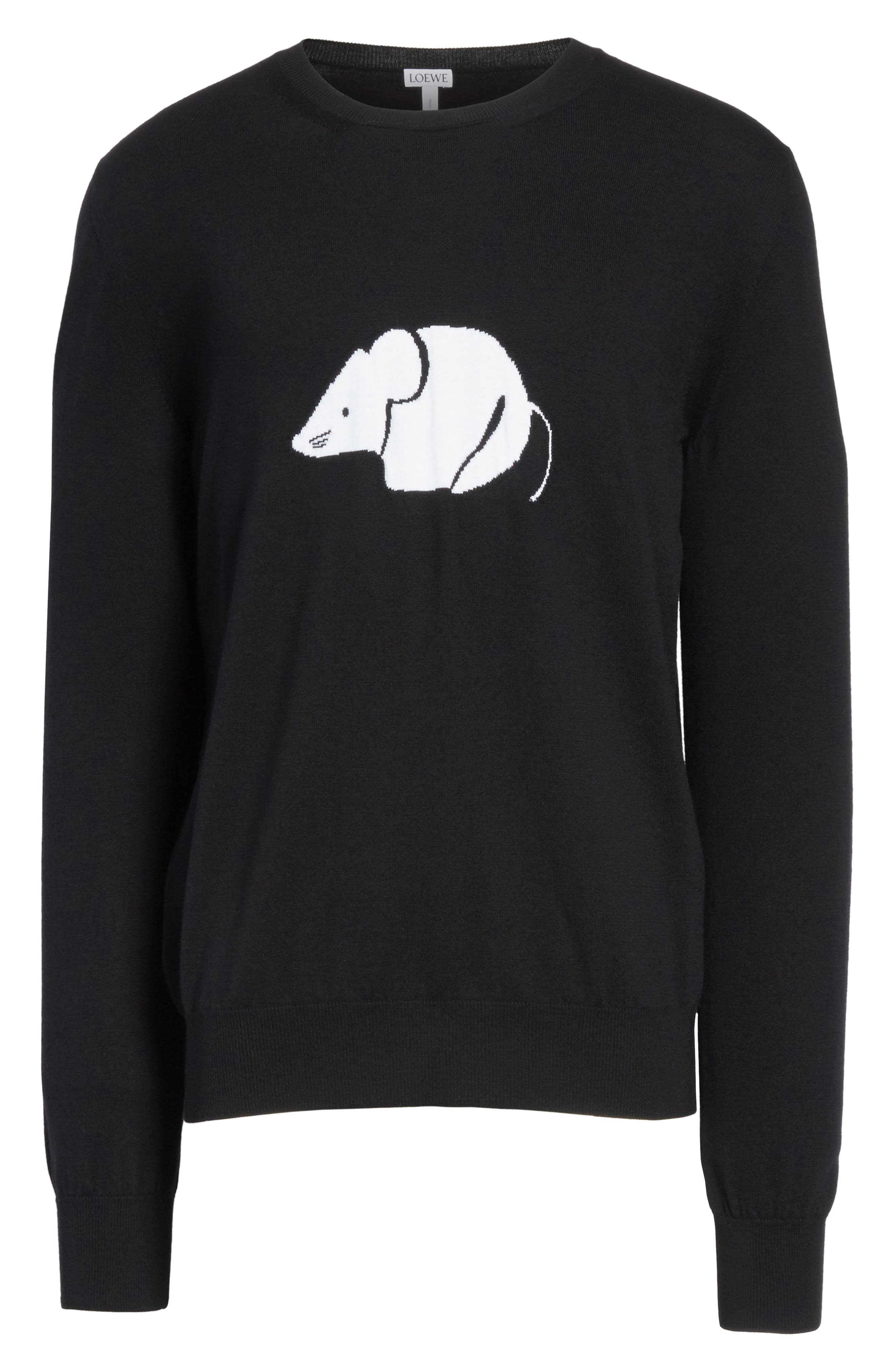 Mouse Wool Sweater,                             Alternate thumbnail 6, color,                             Black