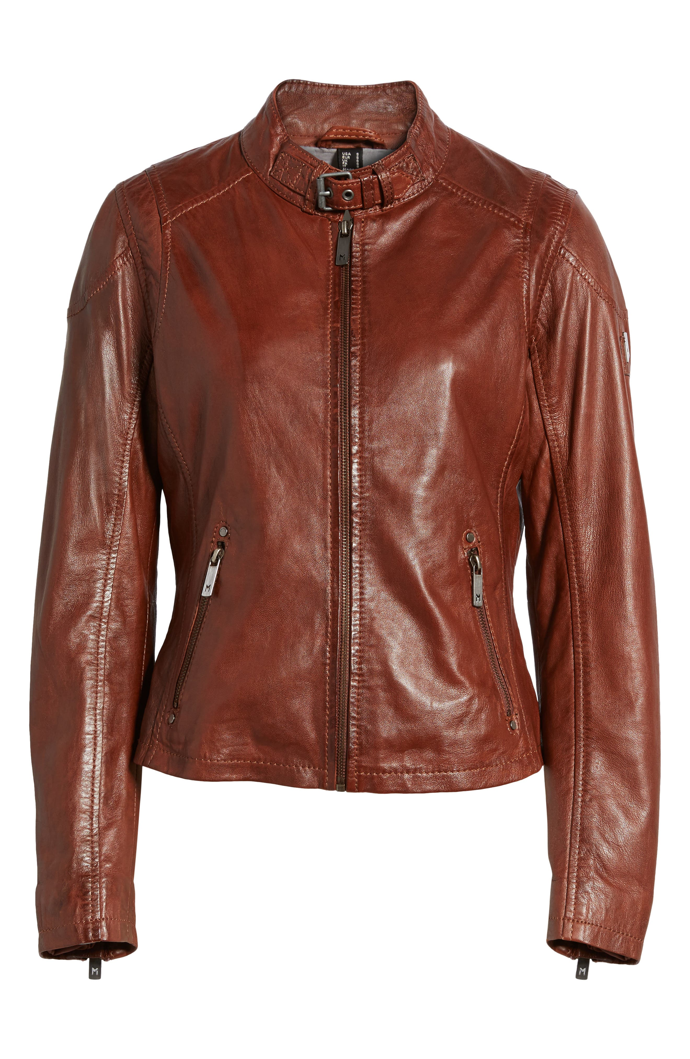 Alternate Image 6  - Mauritius Leather Lambskin Leather Moto Jacket