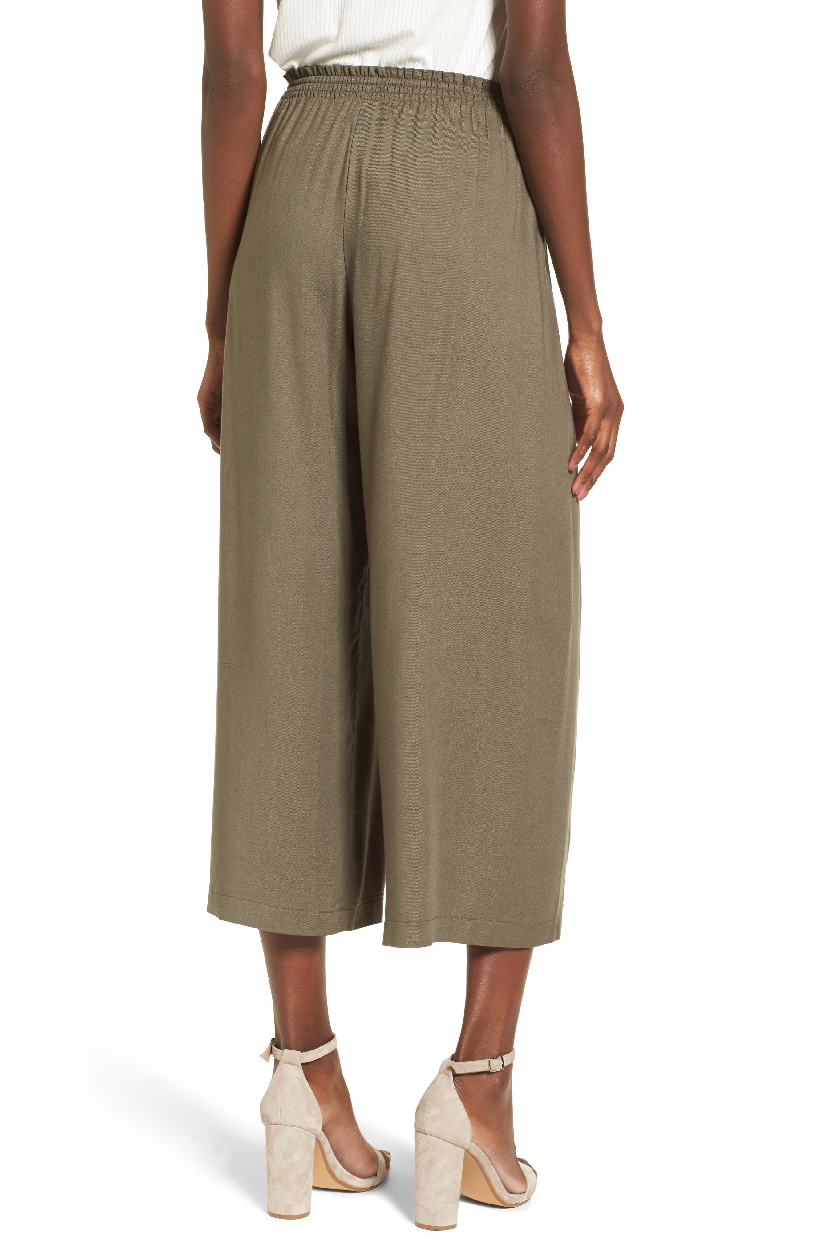 Tie Waist Wide Leg Pants,                             Alternate thumbnail 3, color,                             Olive Sarma