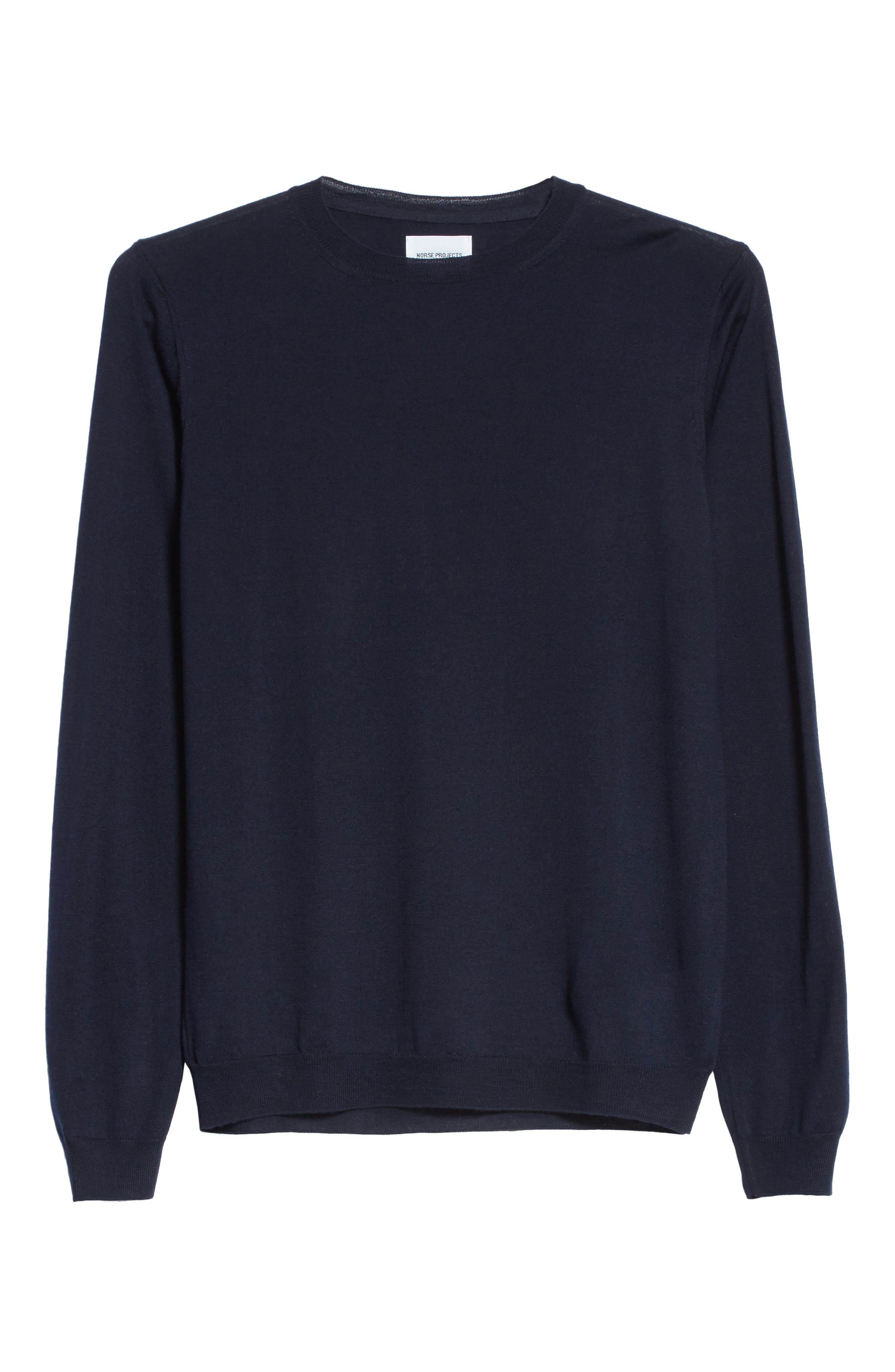 Sigfred Merino Wool & Silk Crewneck Sweater,                             Alternate thumbnail 6, color,                             Dark Navy