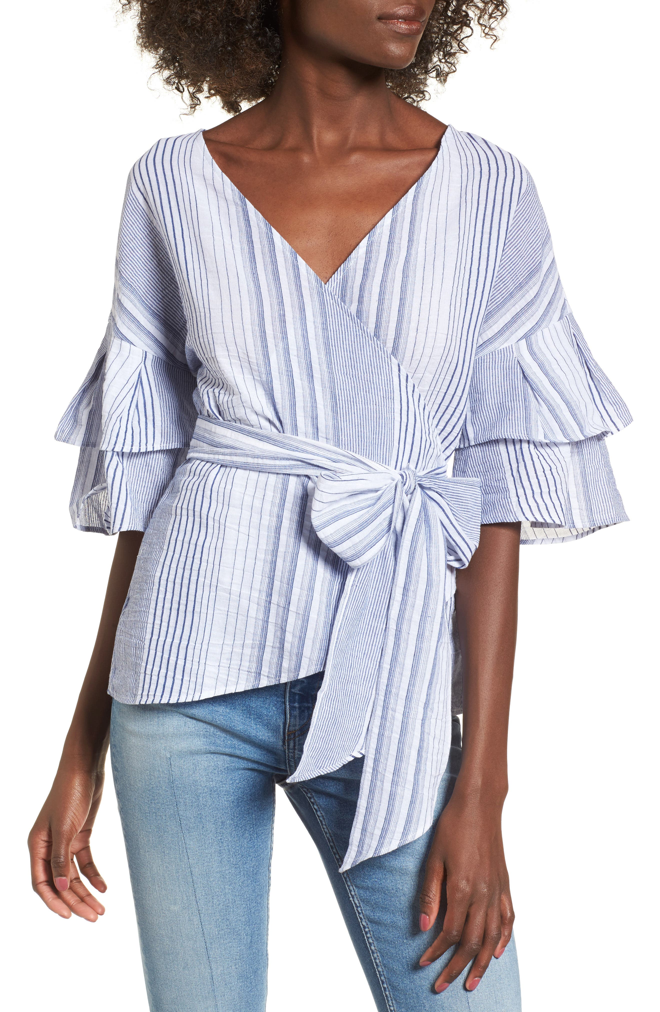 Tier Sleeve Wrap Top,                         Main,                         color, Navy/ White