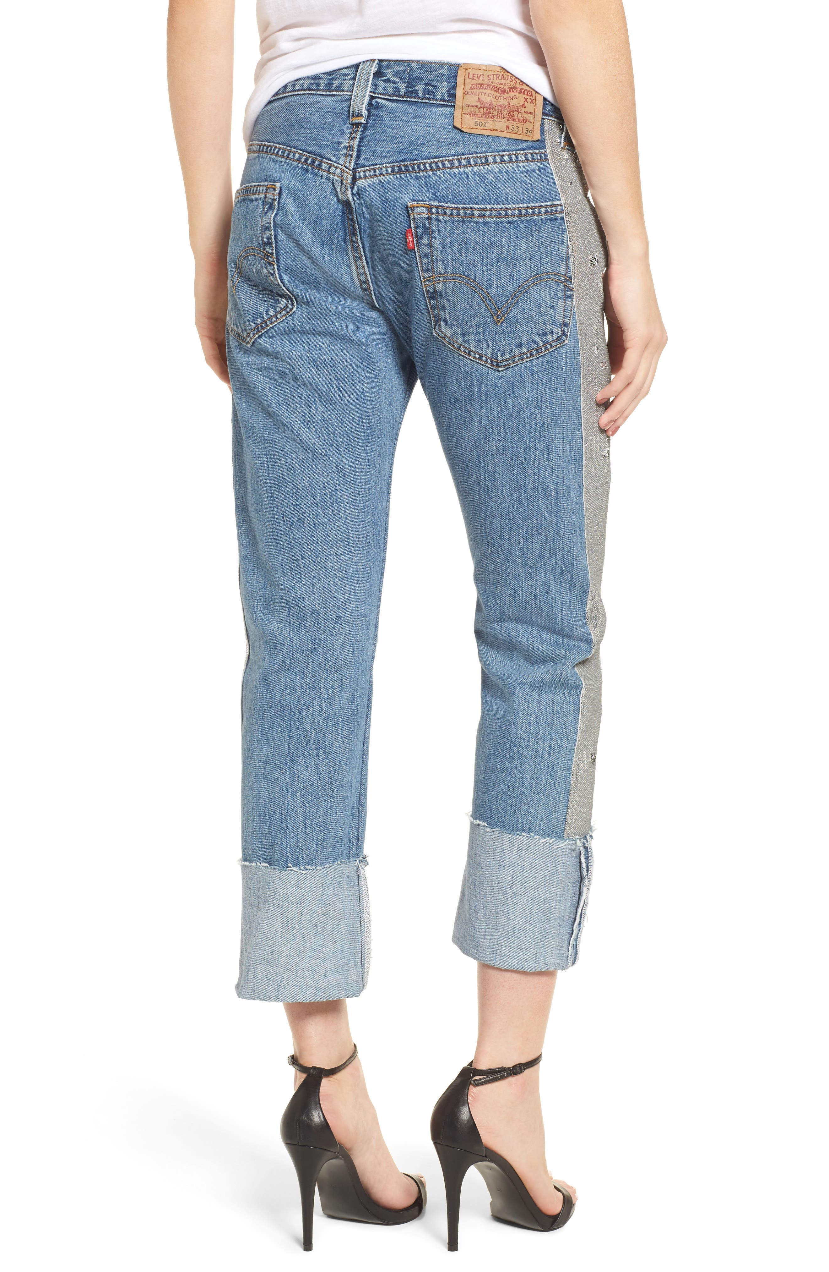 Sequin Boyfriend Jeans,                             Alternate thumbnail 2, color,                             Medium Wash/ Silver