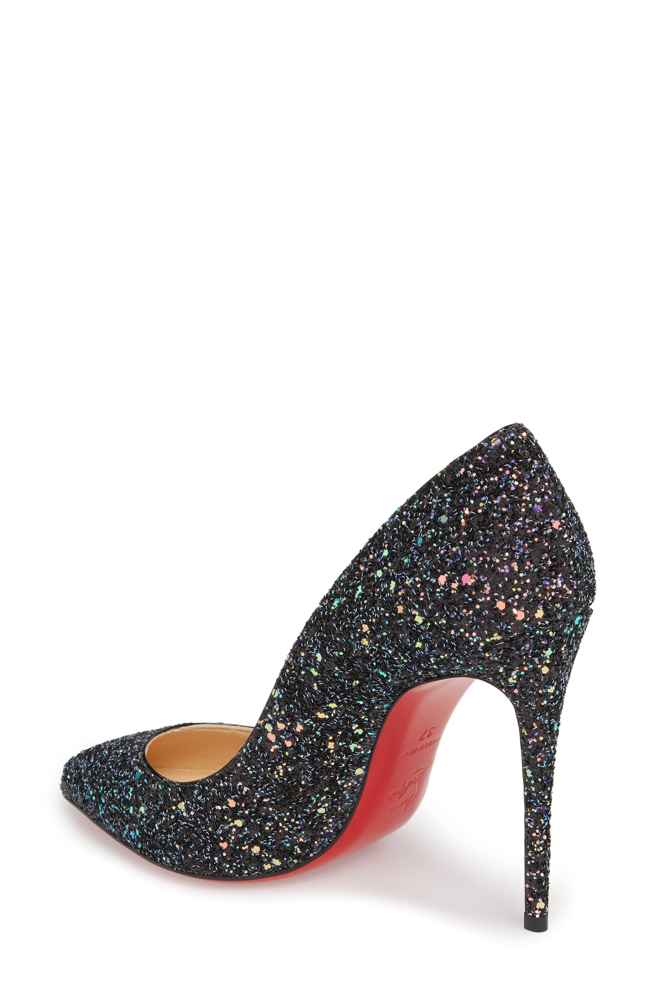 CHRISTIAN LOUBOUTIN Pigalle Follies Glitter Pointy Toe Pump, Black