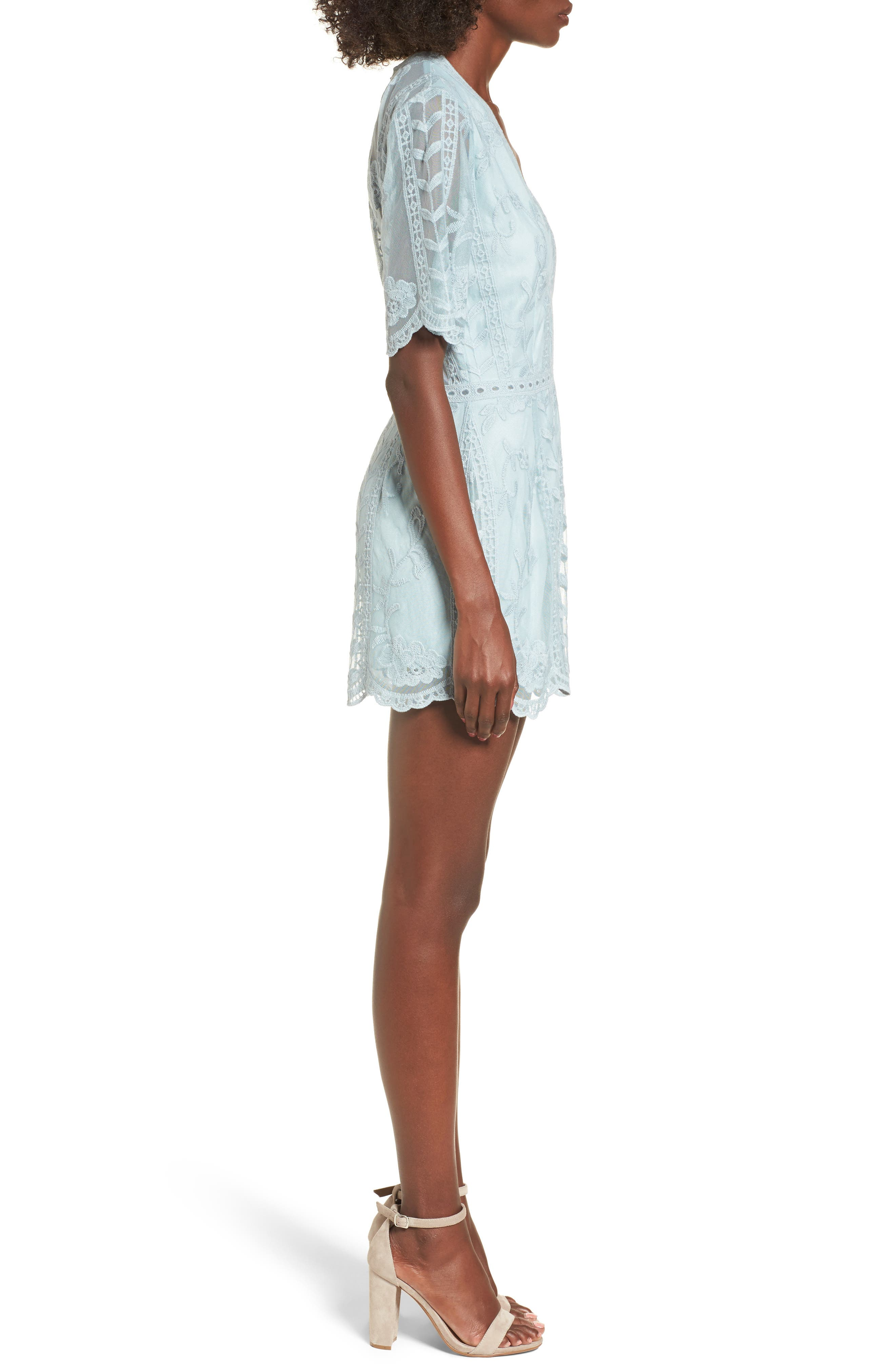 Plunging Lace Romper,                             Alternate thumbnail 3, color,                             Mint