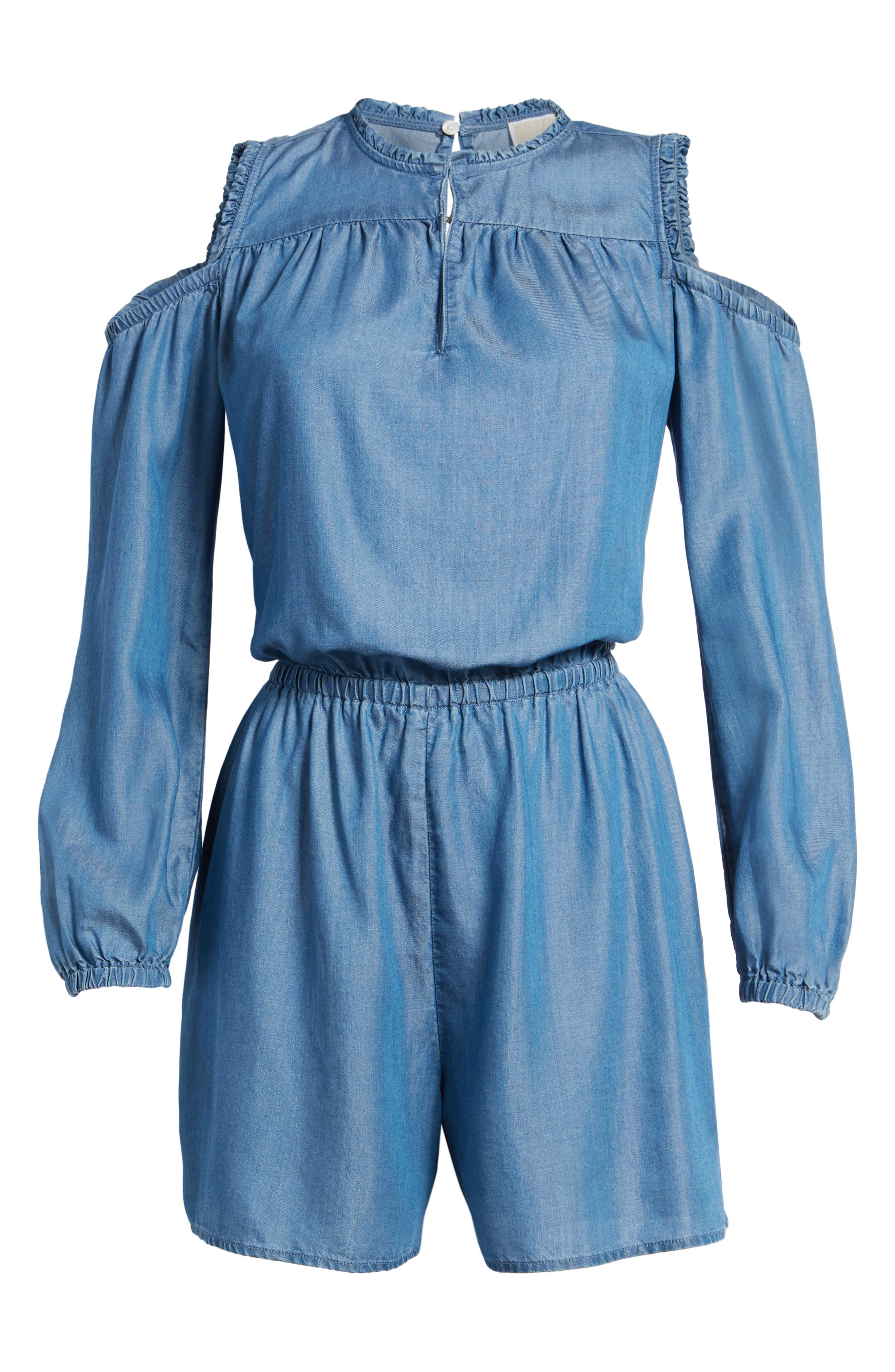 Cold Shoulder Chambray Romper,                             Alternate thumbnail 6, color,                             Light Cadet Wash